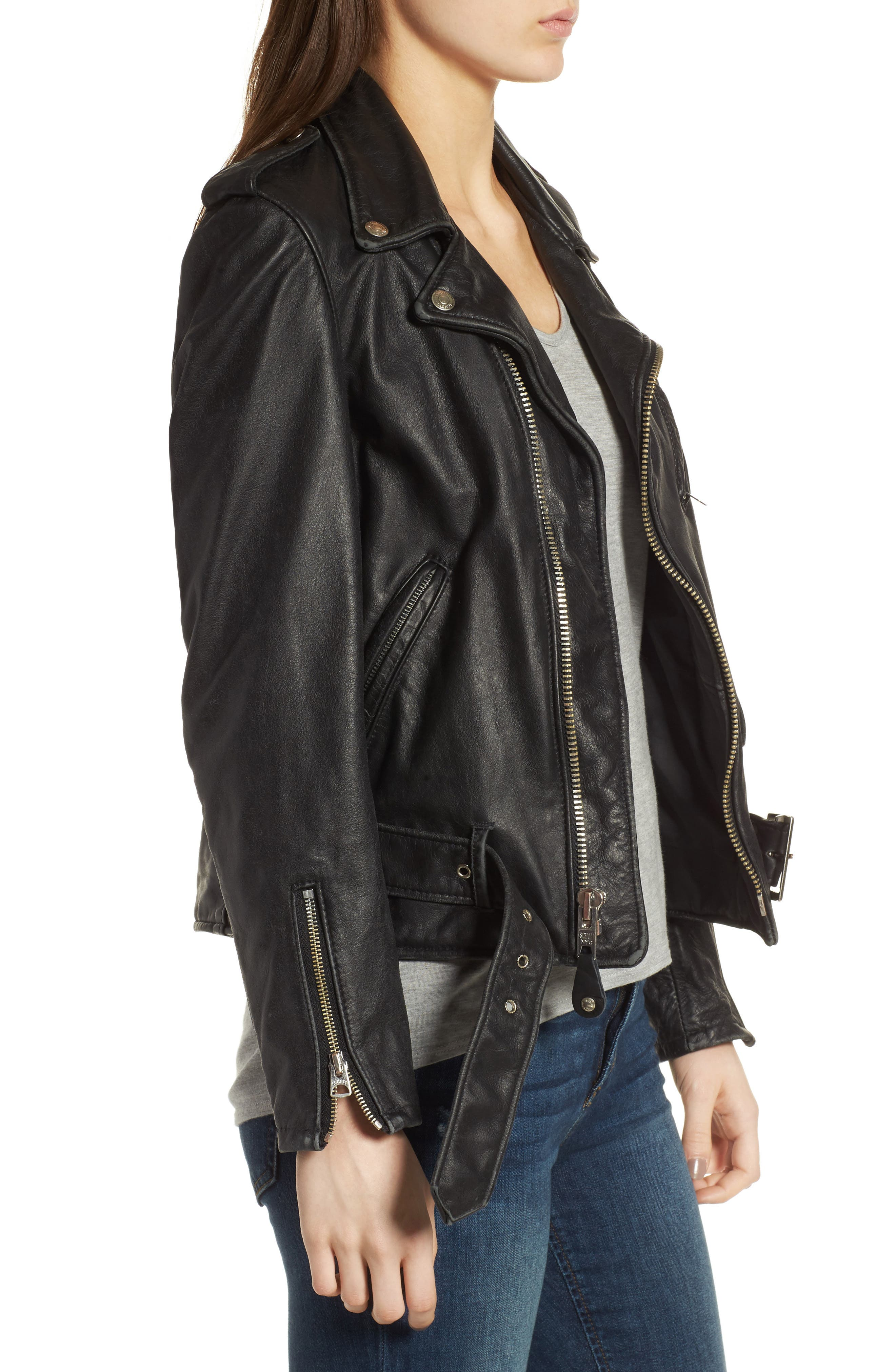 Boyfriend Leather Jacket,                             Alternate thumbnail 3, color,                             BLACK