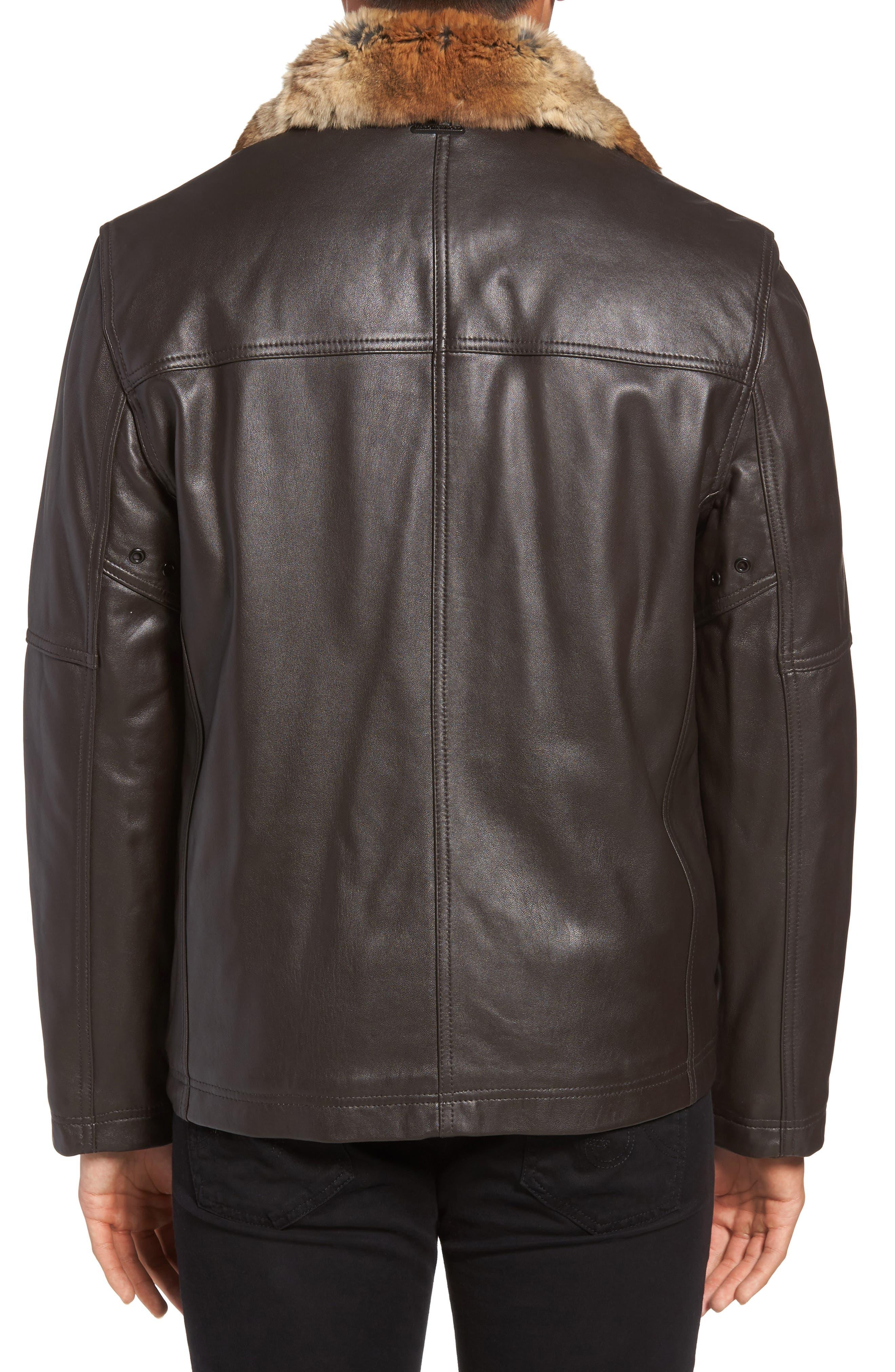 Lambskin Leather Jacket with Genuine Rabbit Fur Trim,                             Alternate thumbnail 4, color,