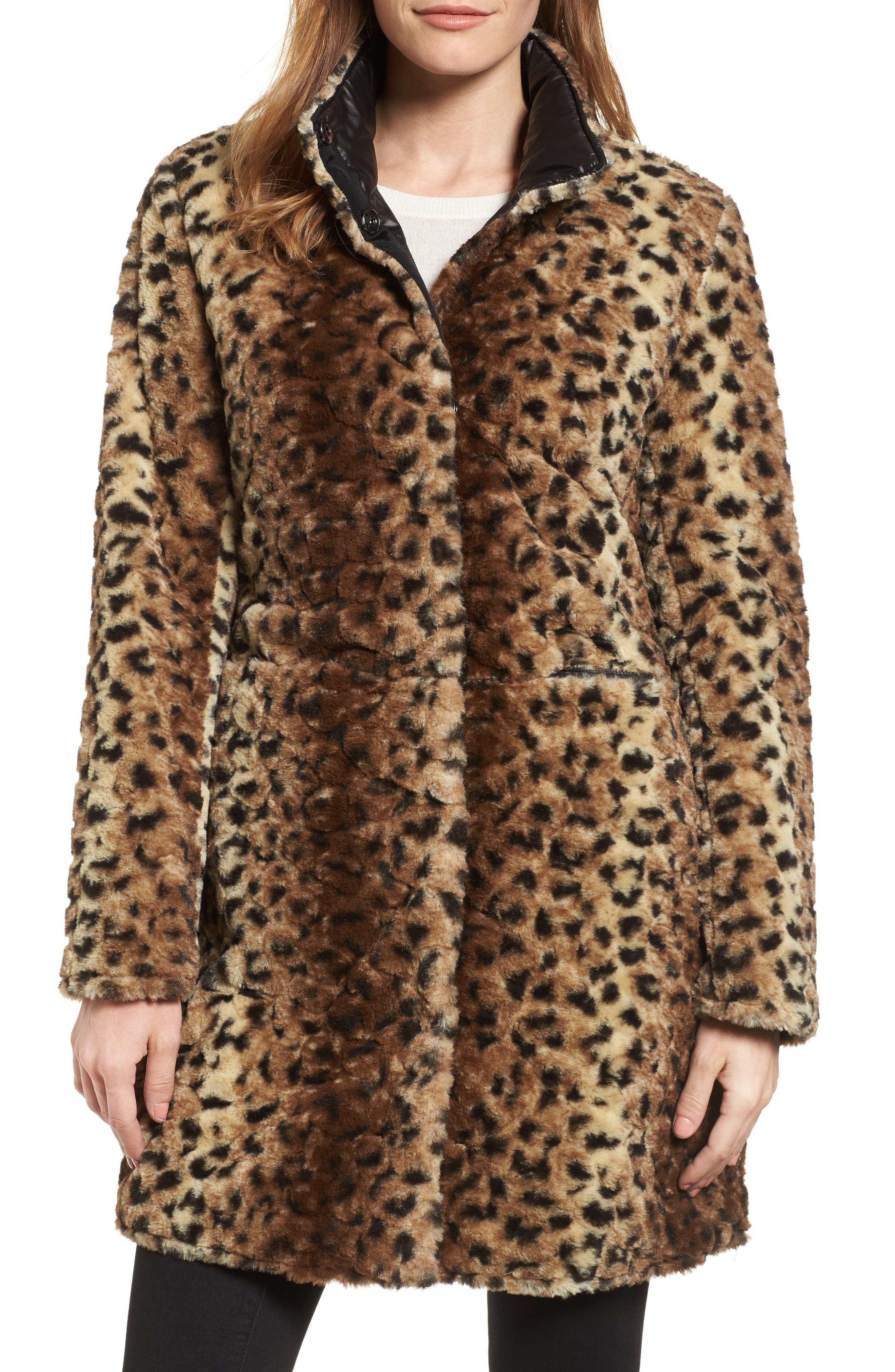 Reversible Faux Leopard Fur Coat,                             Main thumbnail 2, color,