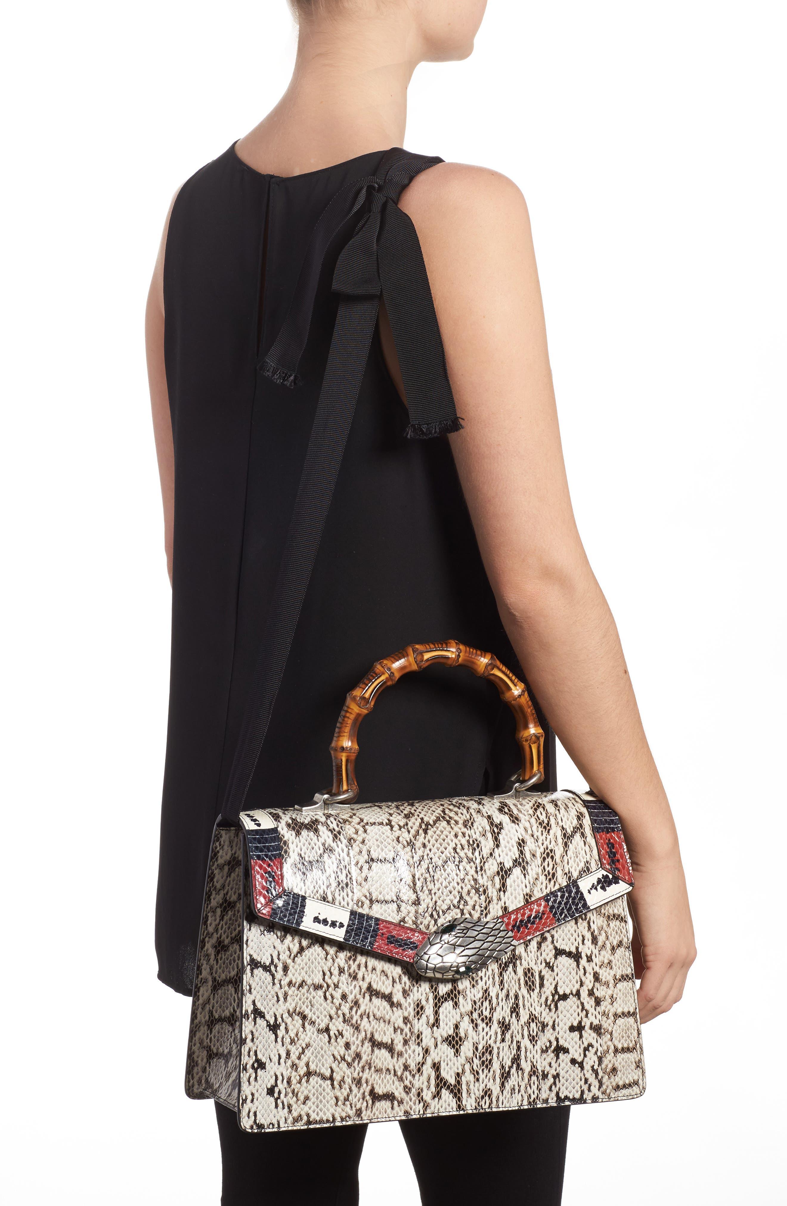 Medium Minerva Genuine Snakeskin Top Handle Bag,                             Alternate thumbnail 2, color,                             020