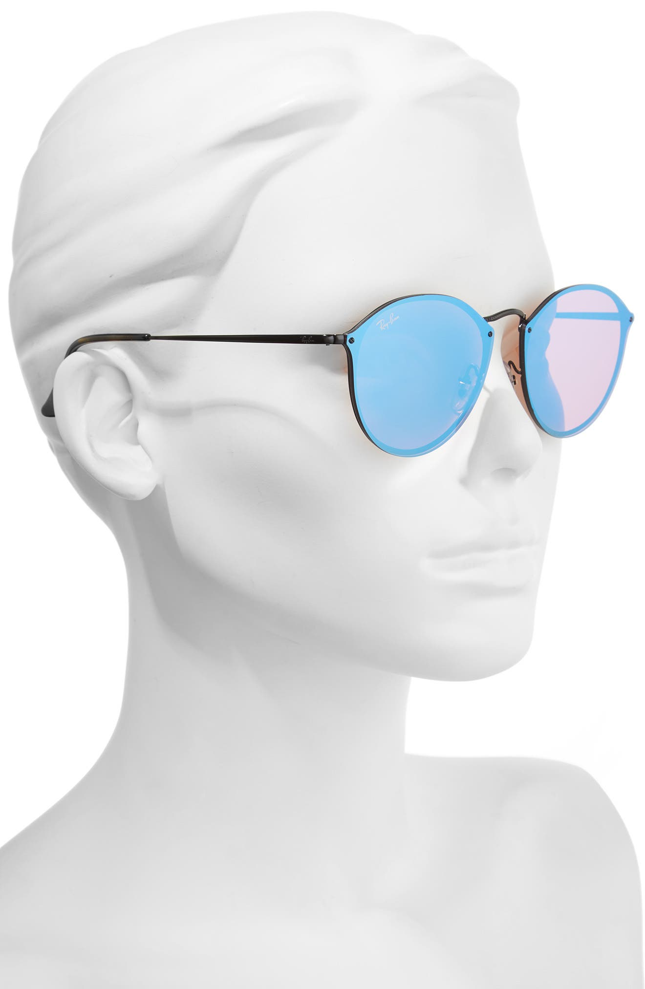 59mm Blaze Round Mirrored Sunglasses,                             Alternate thumbnail 2, color,                             001