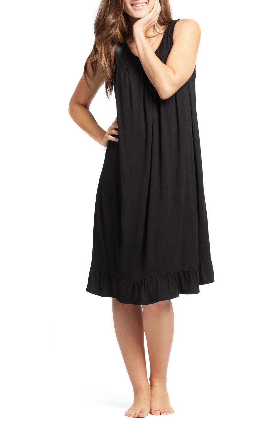 'The Ruffled' Sleeveless Maternity/Nursing Nightgown,                             Main thumbnail 1, color,                             BLACK
