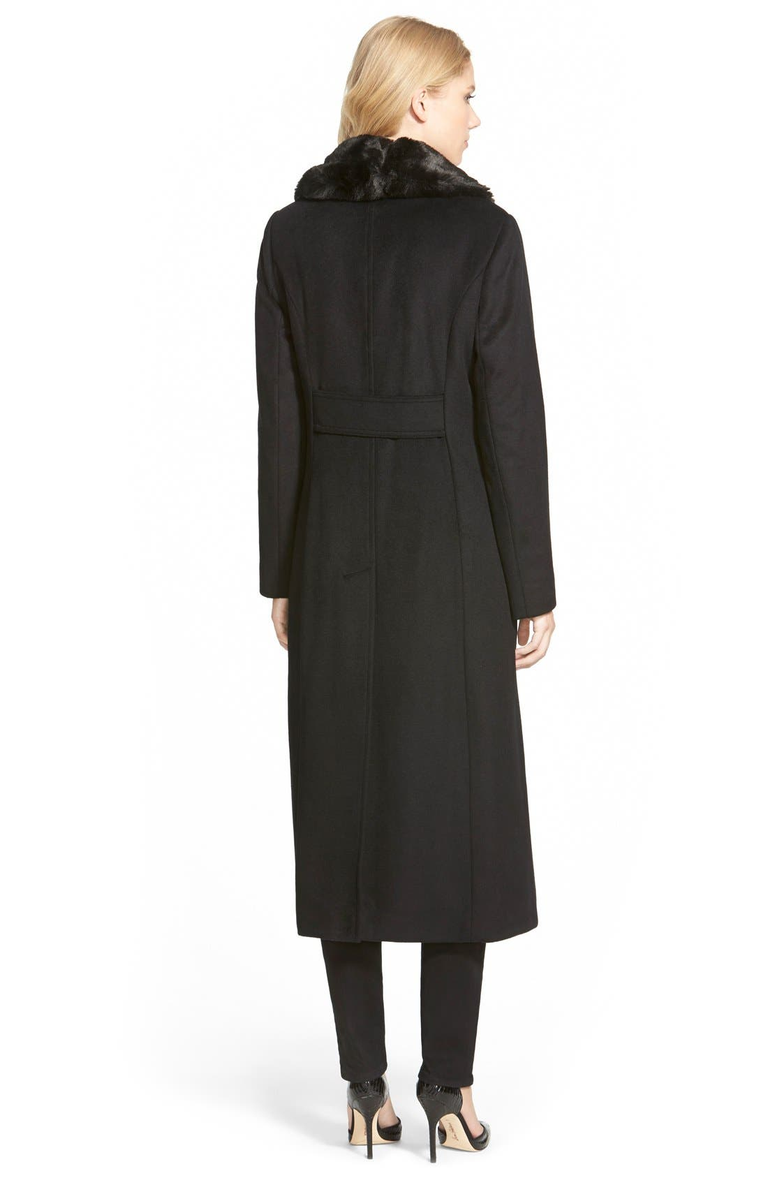 Long Wool Blend Coat with Faux Fur Collar,                             Alternate thumbnail 3, color,                             001