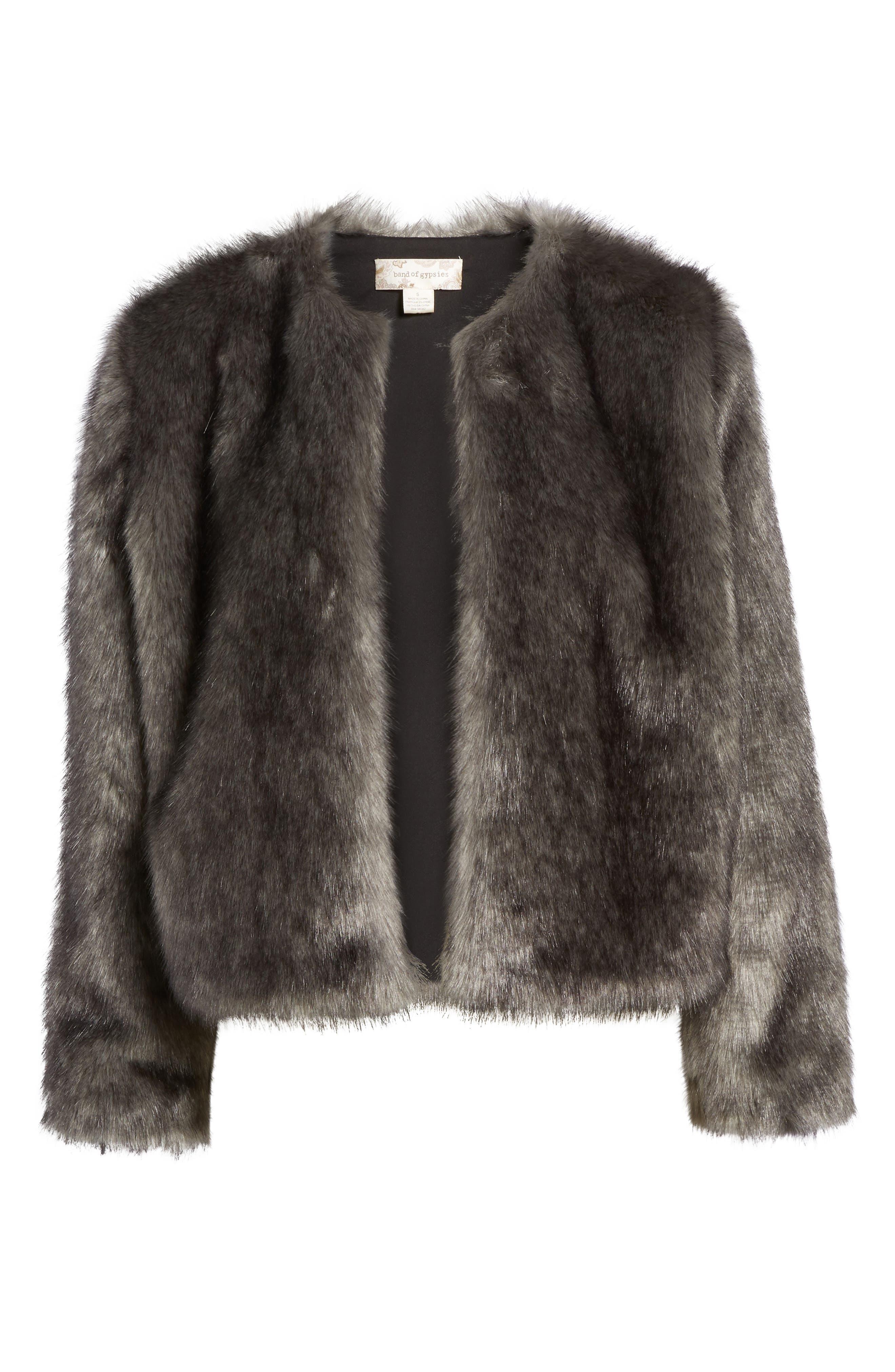 Faux Fur Jacket,                             Alternate thumbnail 5, color,                             020