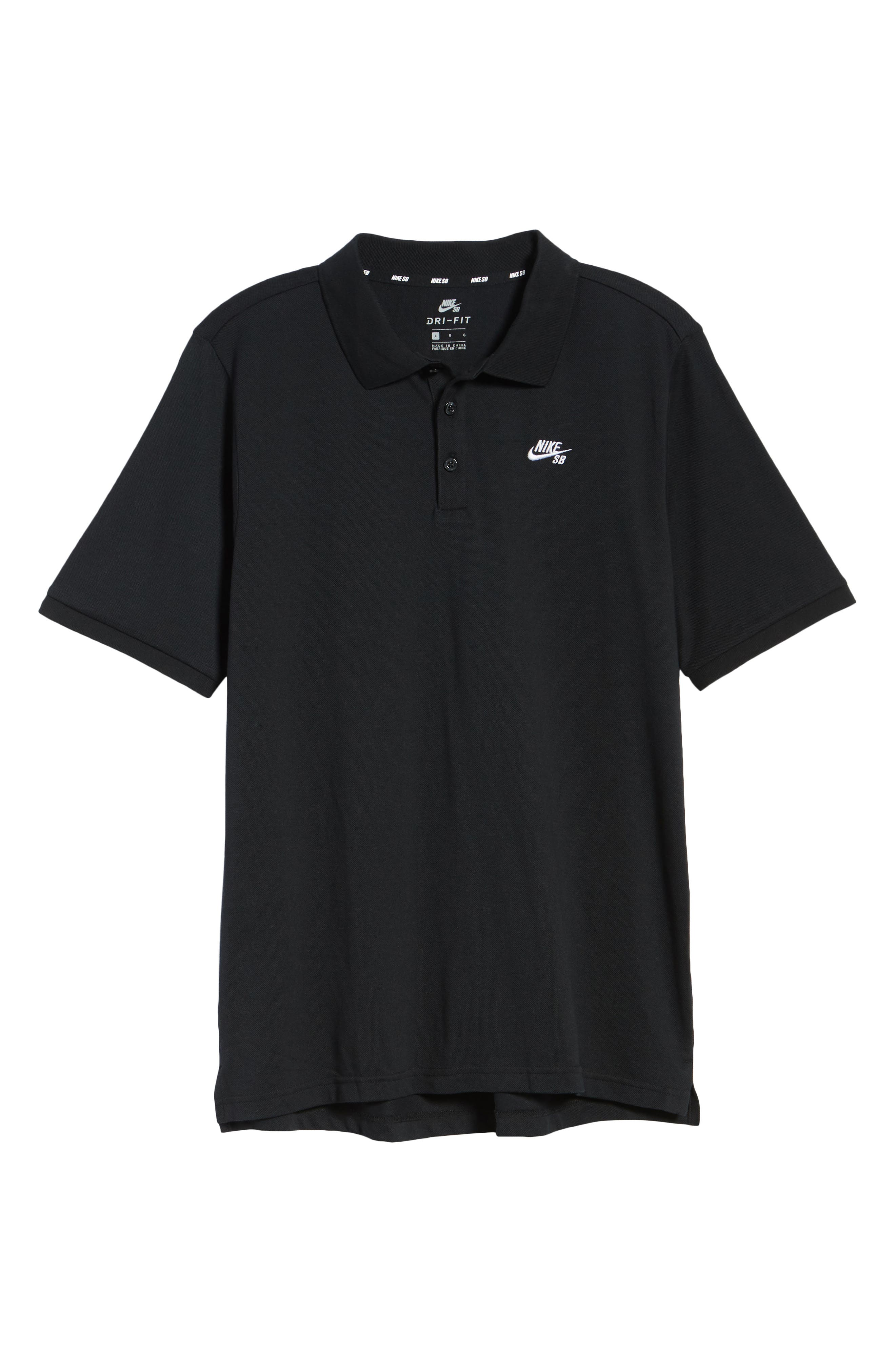 Dri-FIT Piqué Polo,                         Main,                         color, BLACK/ WHITE