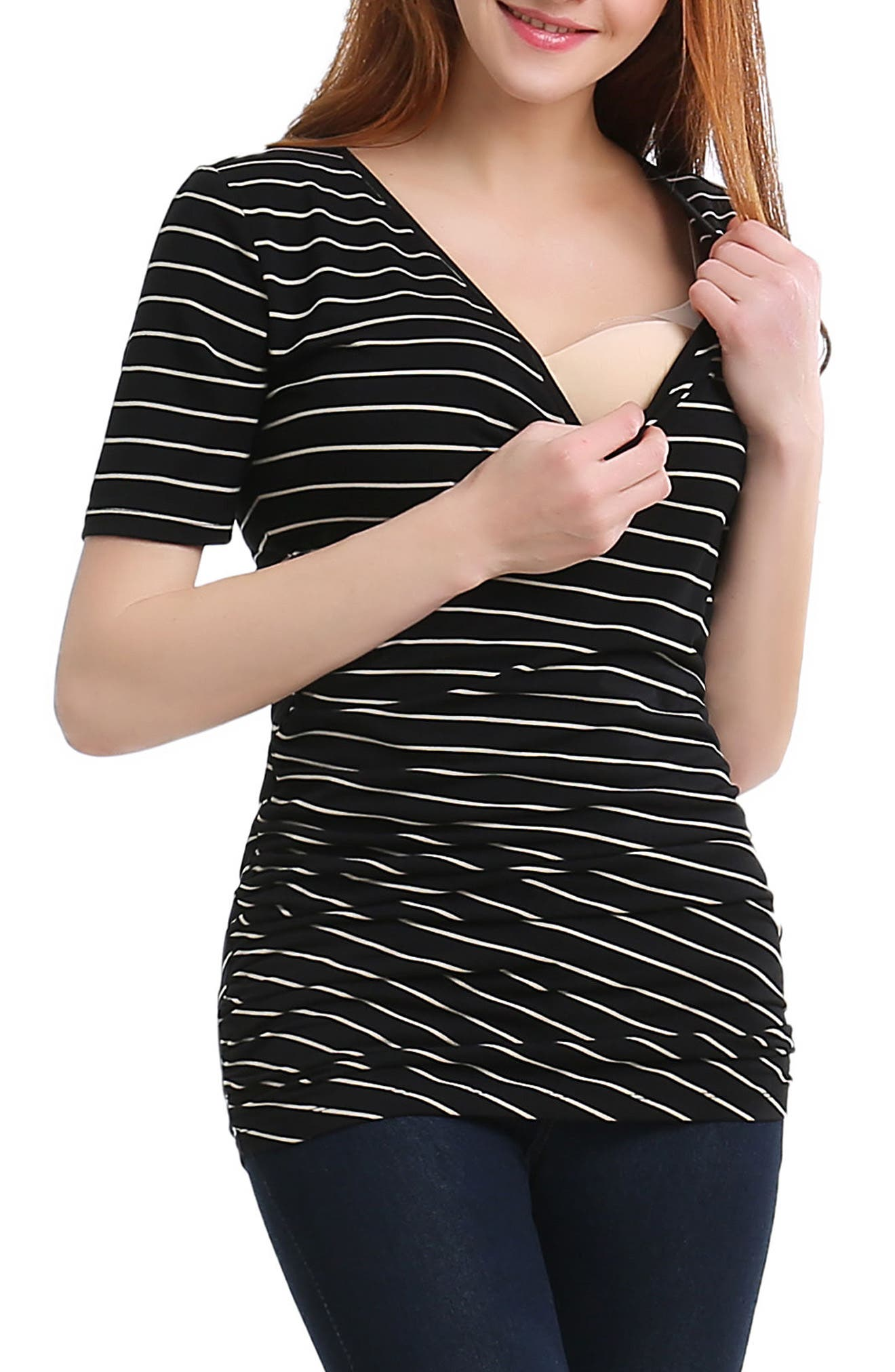 Beverly Ruched Maternity/Nursing Top,                             Alternate thumbnail 4, color,                             BLACK/ BEIGE