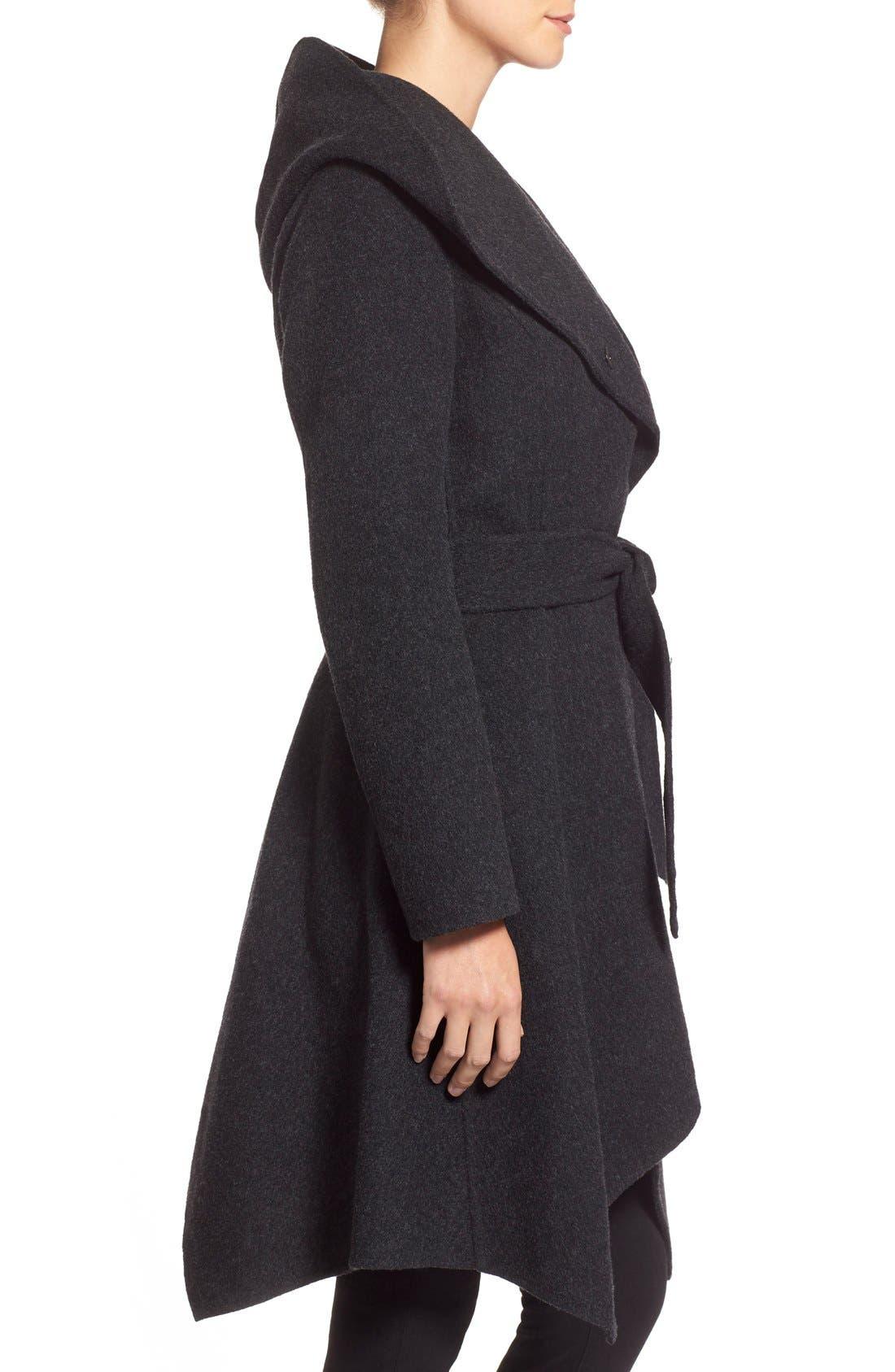 'Sophia' Belted Wool Blend Hooded Asymmetrical Coat,                             Alternate thumbnail 4, color,                             034