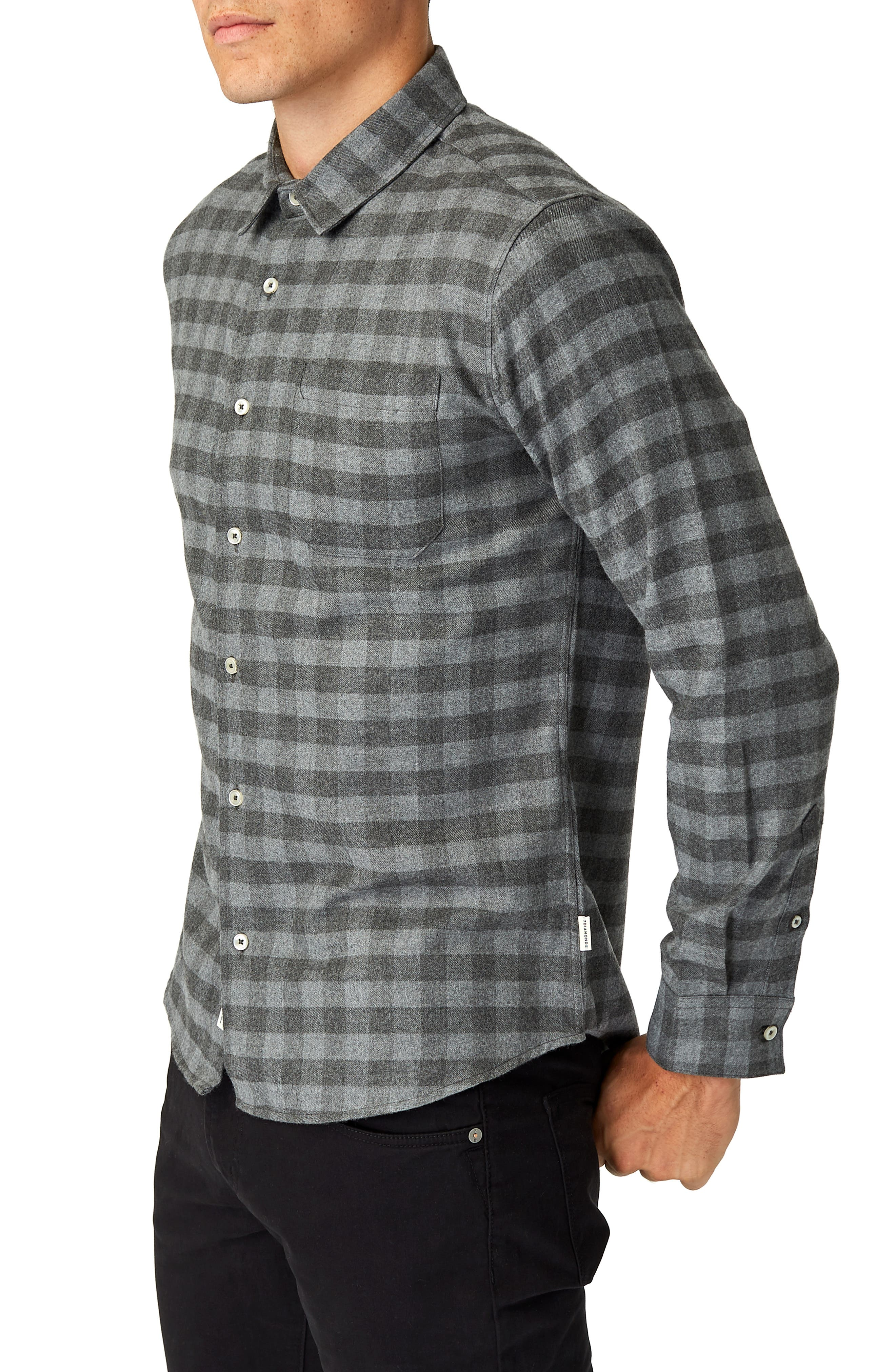 Asher Trim Fit Flannel Shirt,                             Alternate thumbnail 4, color,                             GREY