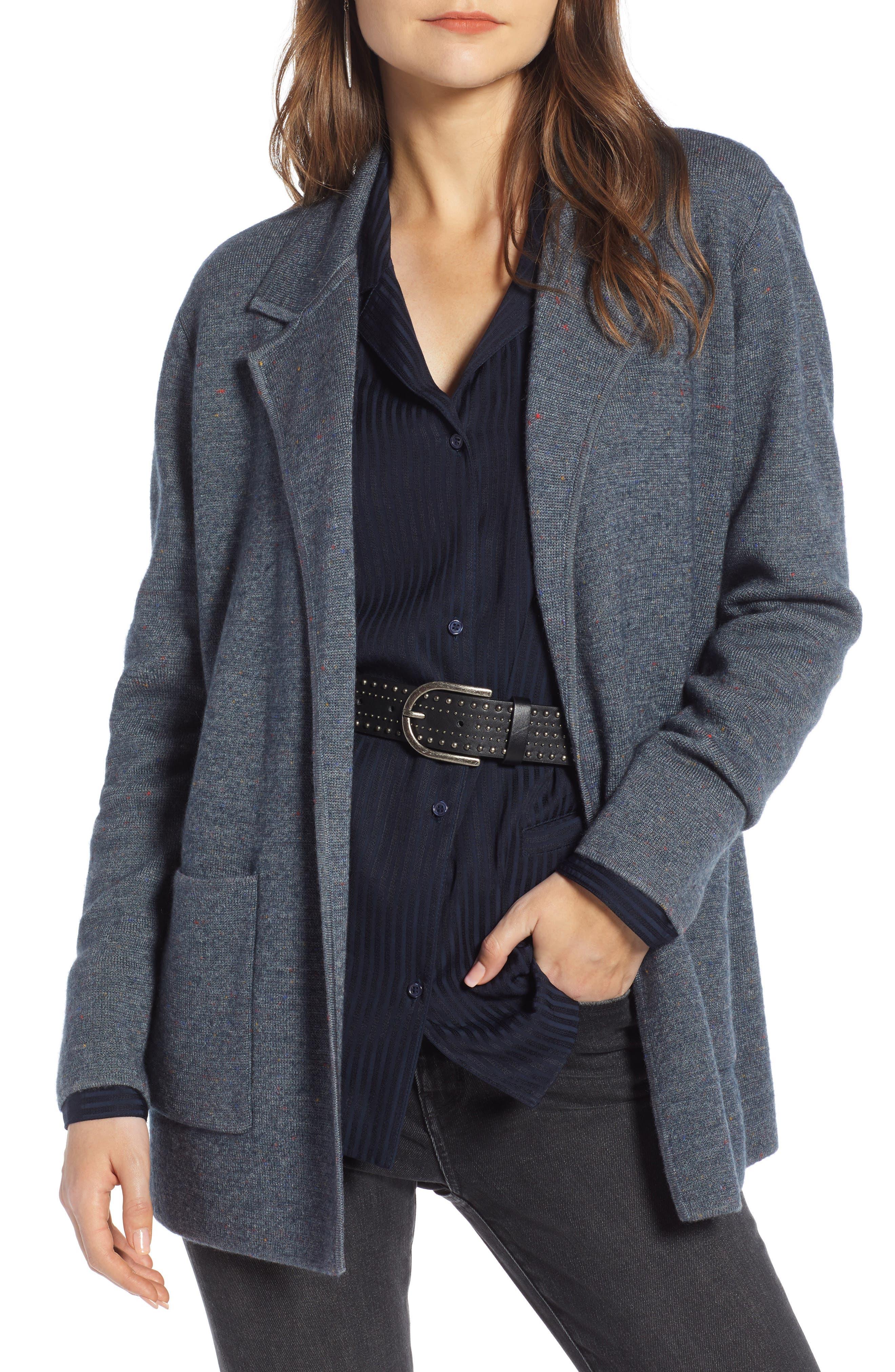 Sweater Blazer, Main, color, GREY MEDIUM CHARCOAL HEATHER