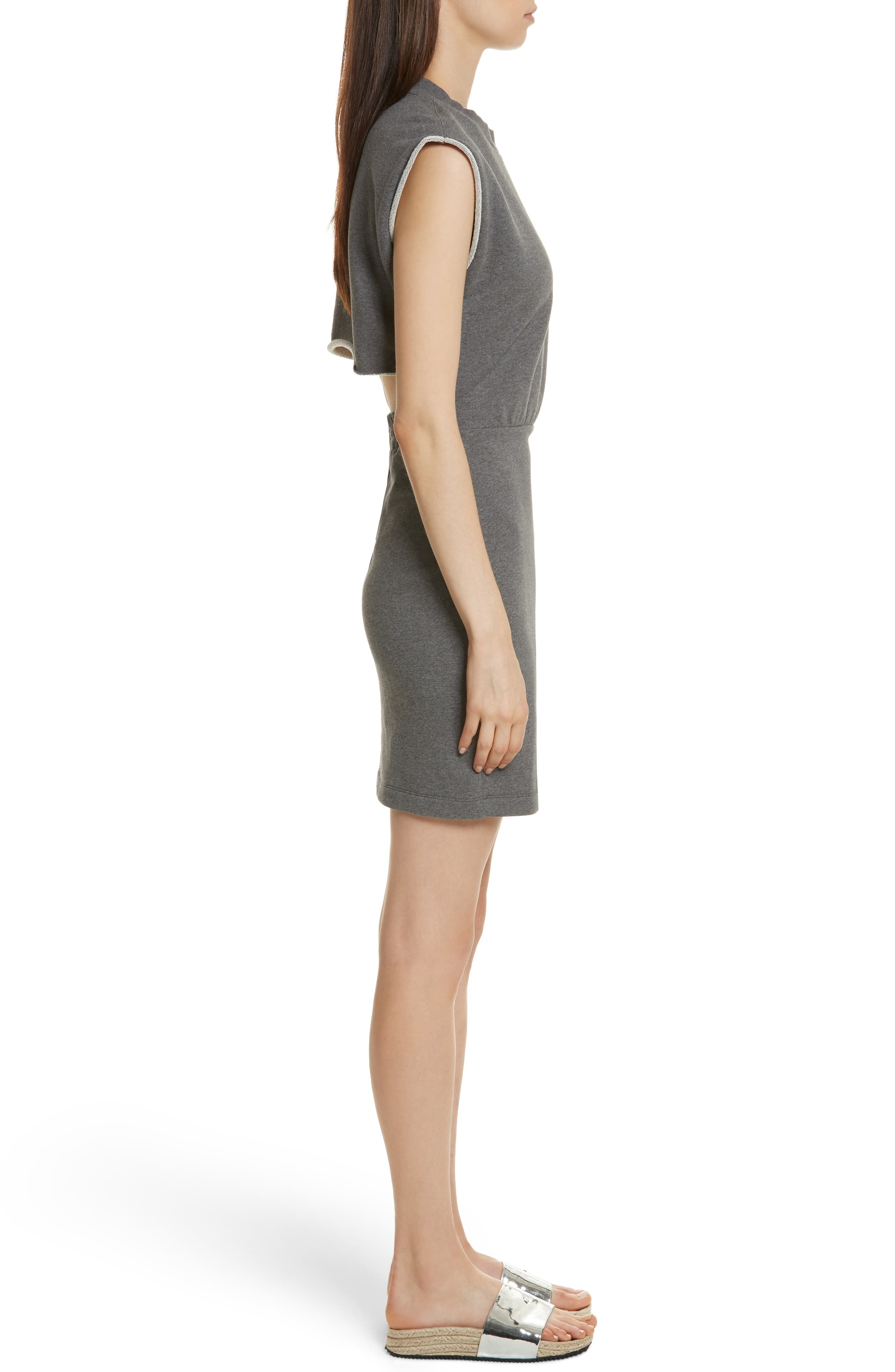 T by Alexander Wang French Terry Dress,                             Alternate thumbnail 3, color,                             020