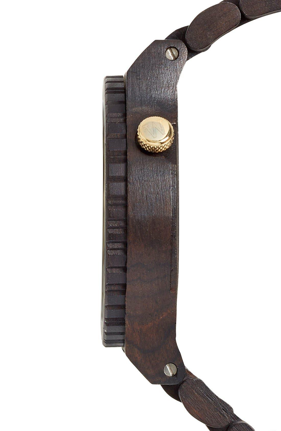 'Alpha' Wood Bracelet Watch, 46mm,                             Alternate thumbnail 3, color,                             001