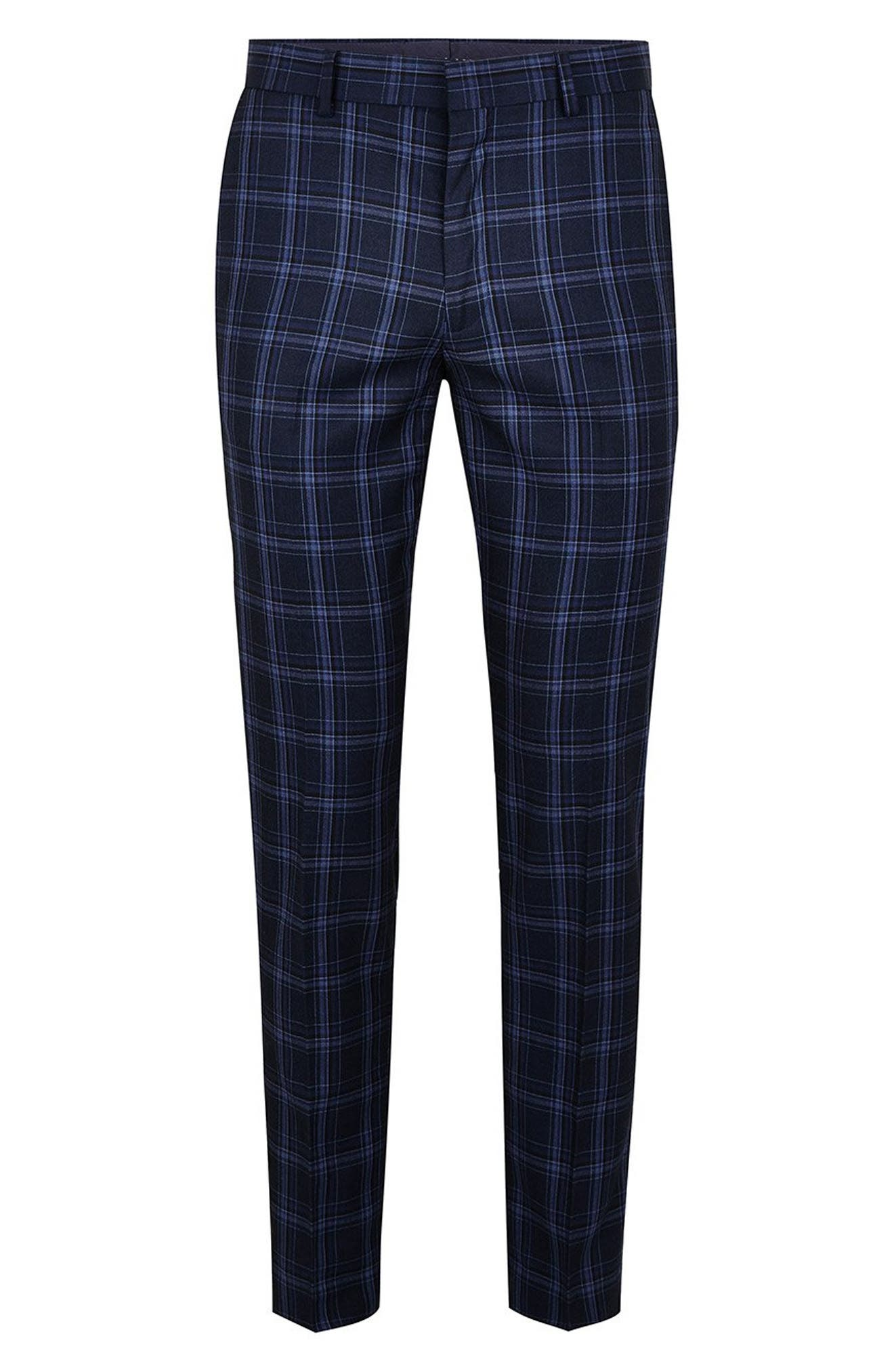 Skinny Fit Check Trousers,                             Alternate thumbnail 4, color,                             BLUE