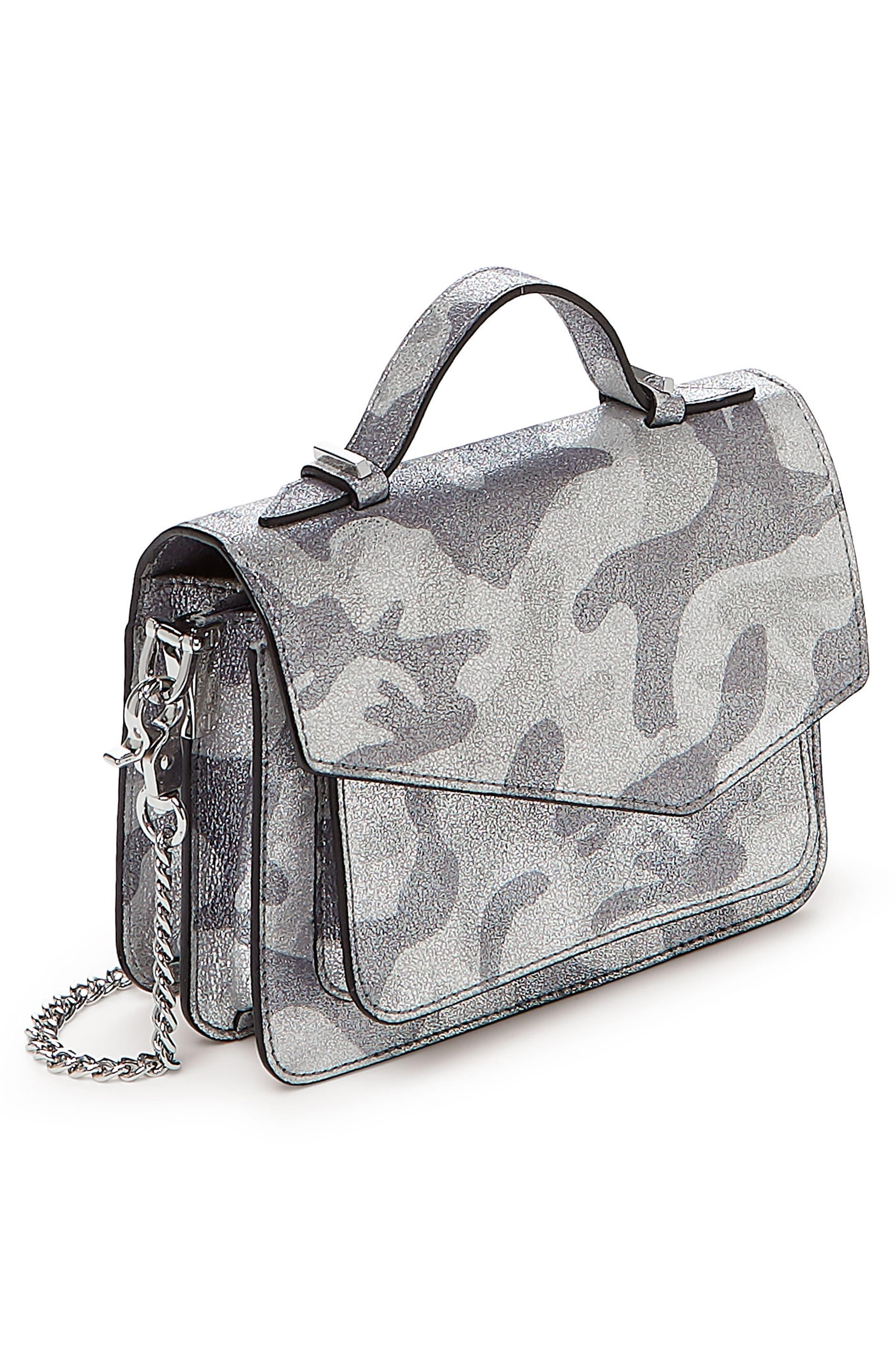 Mini Cobble Hill Calfskin Leather Crossbody Bag,                             Alternate thumbnail 3, color,                             SILVER CAMO