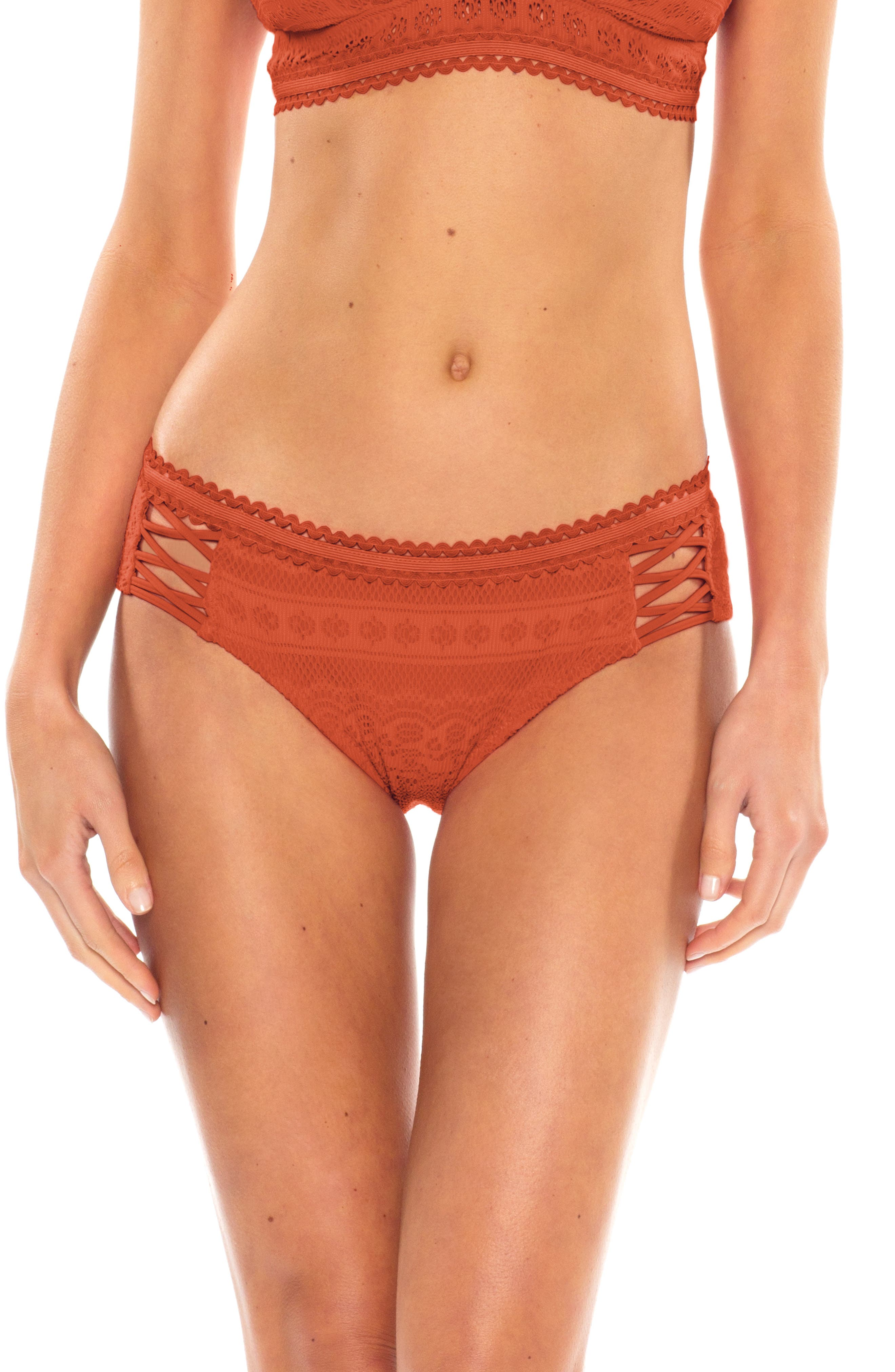 Becca Color Play Lace-Up Hipster Bikini Bottoms, Brown