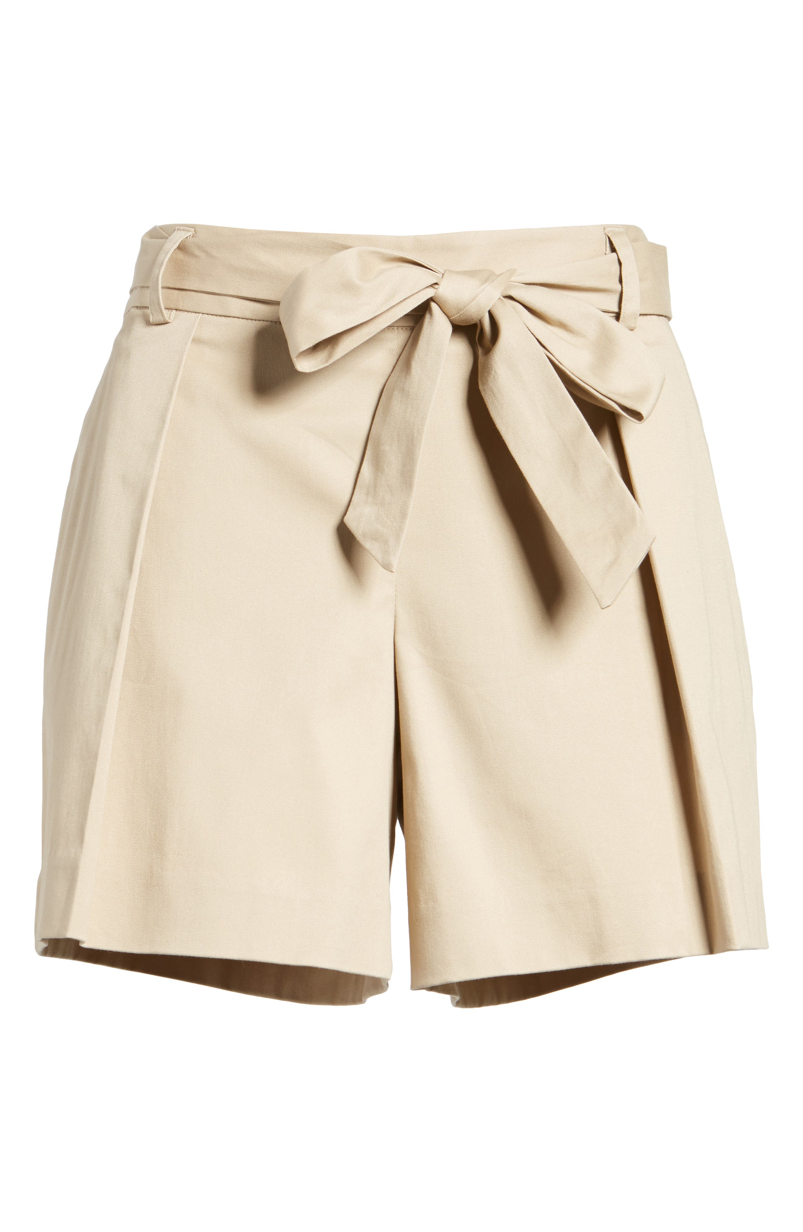 Pleated Twill Bow Front Shorts,                             Alternate thumbnail 6, color,                             235