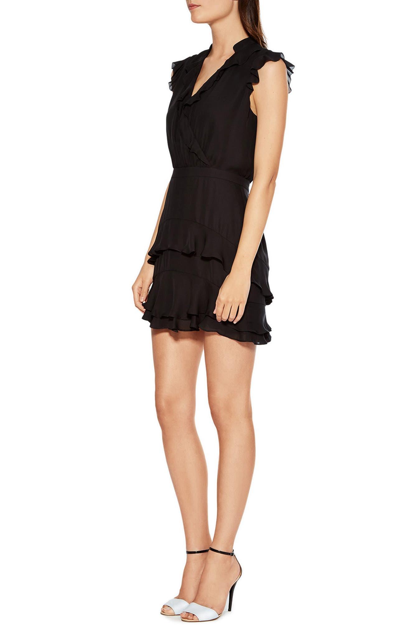 Tangia Silk Dress,                             Alternate thumbnail 3, color,                             BLACK