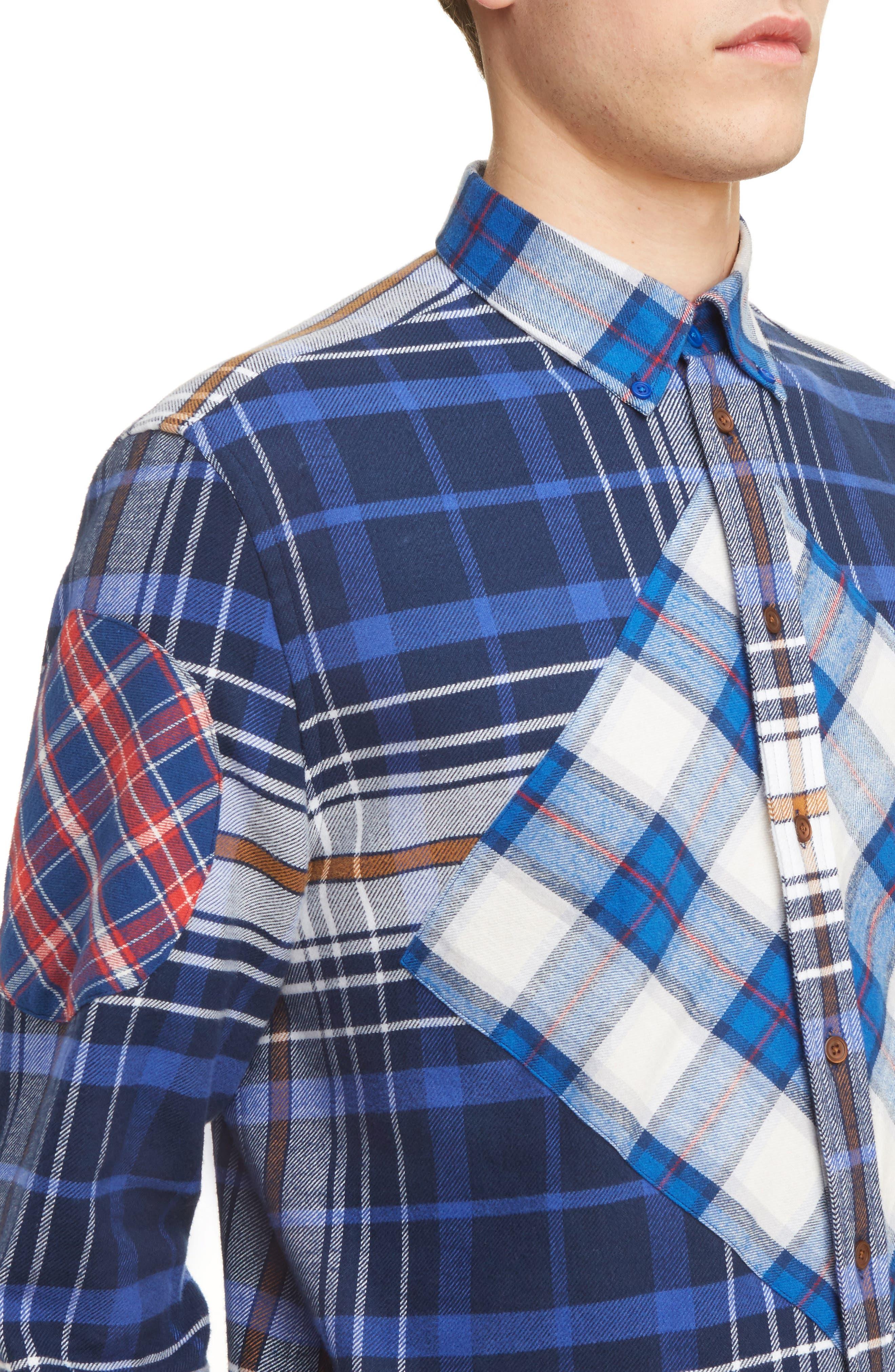 Cuban Fit Pieced Flannel Shirt,                             Alternate thumbnail 5, color,                             400