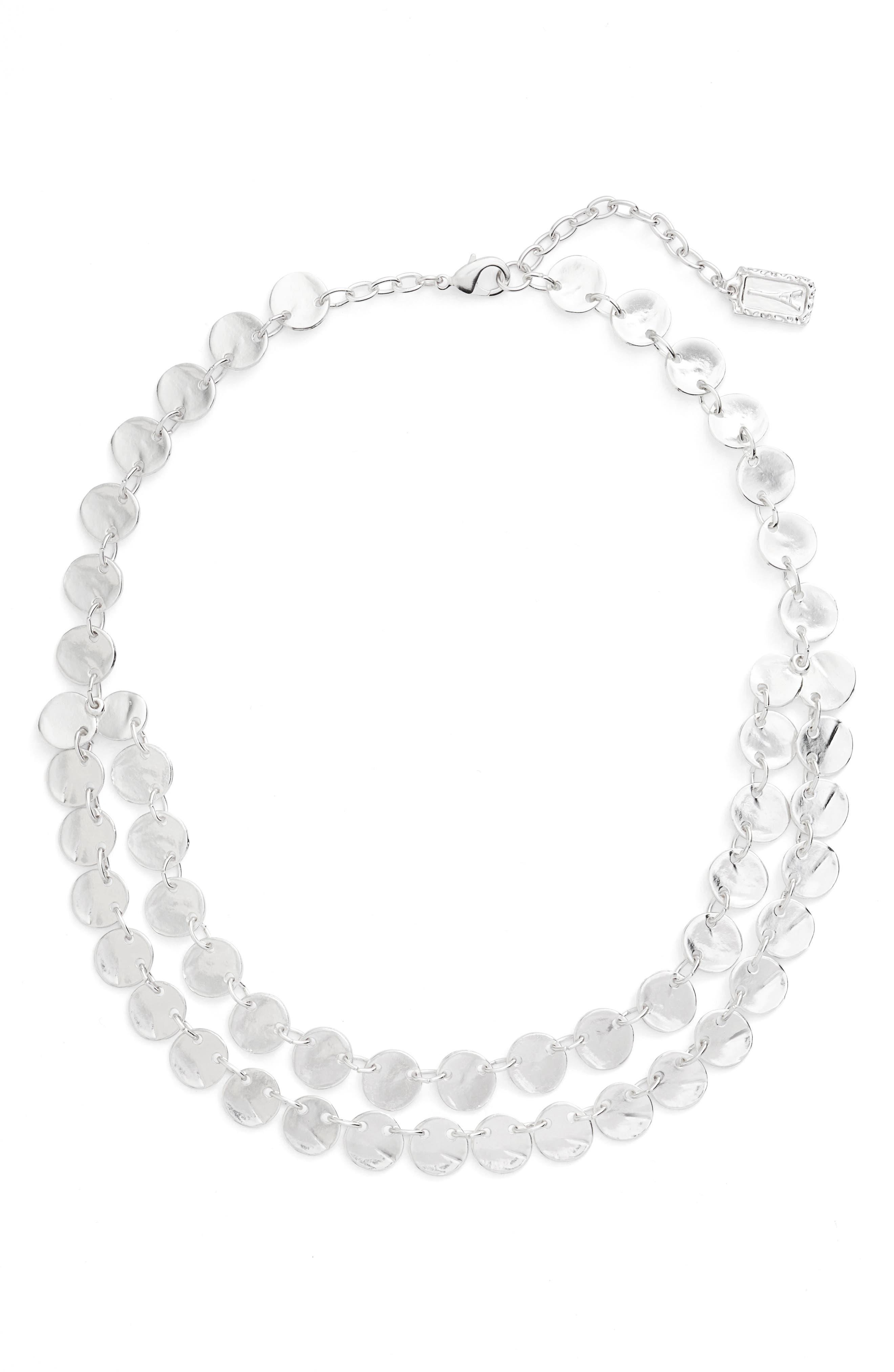 Ariane Coin Collar Necklace,                             Main thumbnail 1, color,                             SILVER