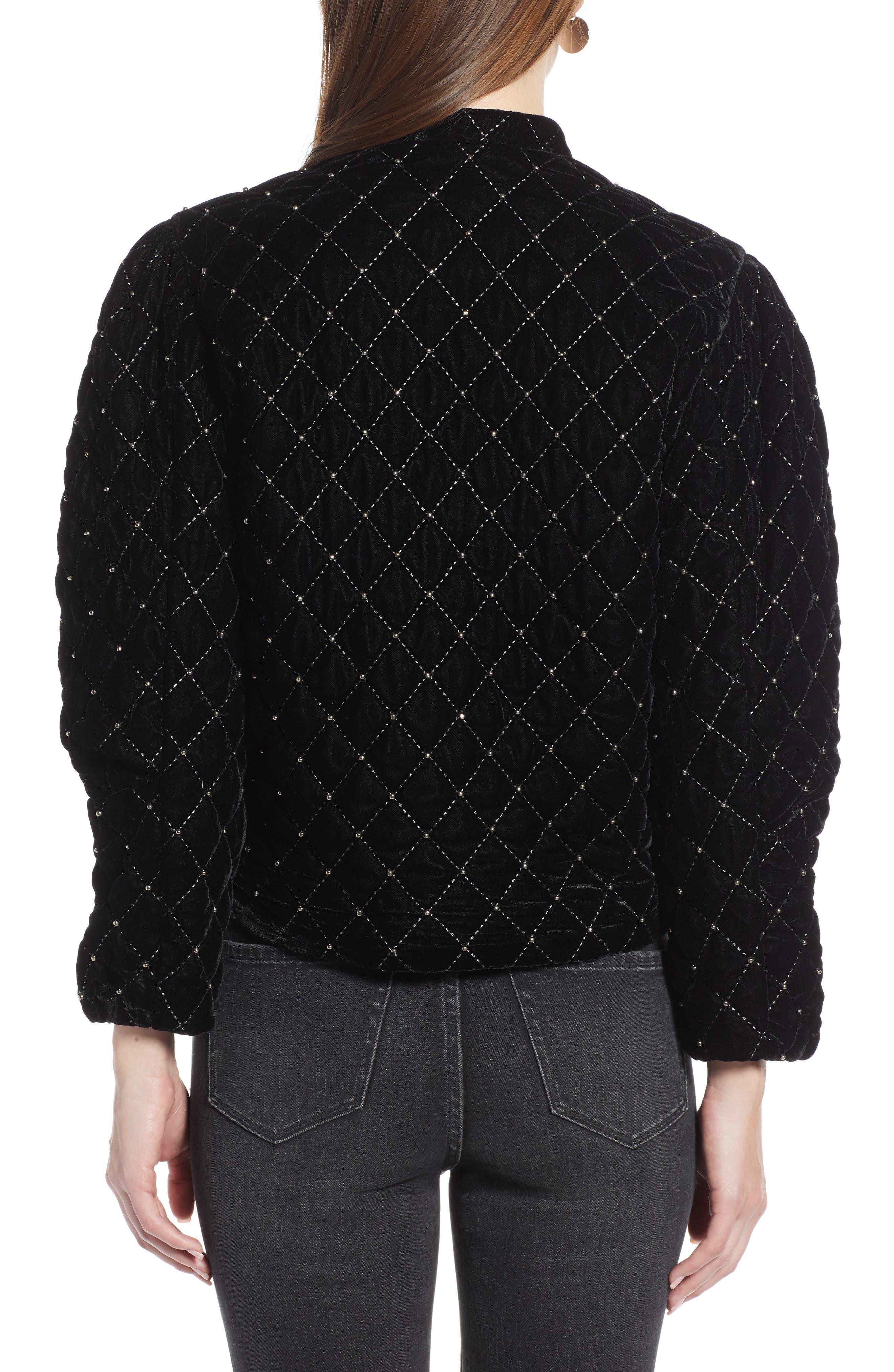 Quilted Velvet Jacket,                             Alternate thumbnail 2, color,                             BLACK