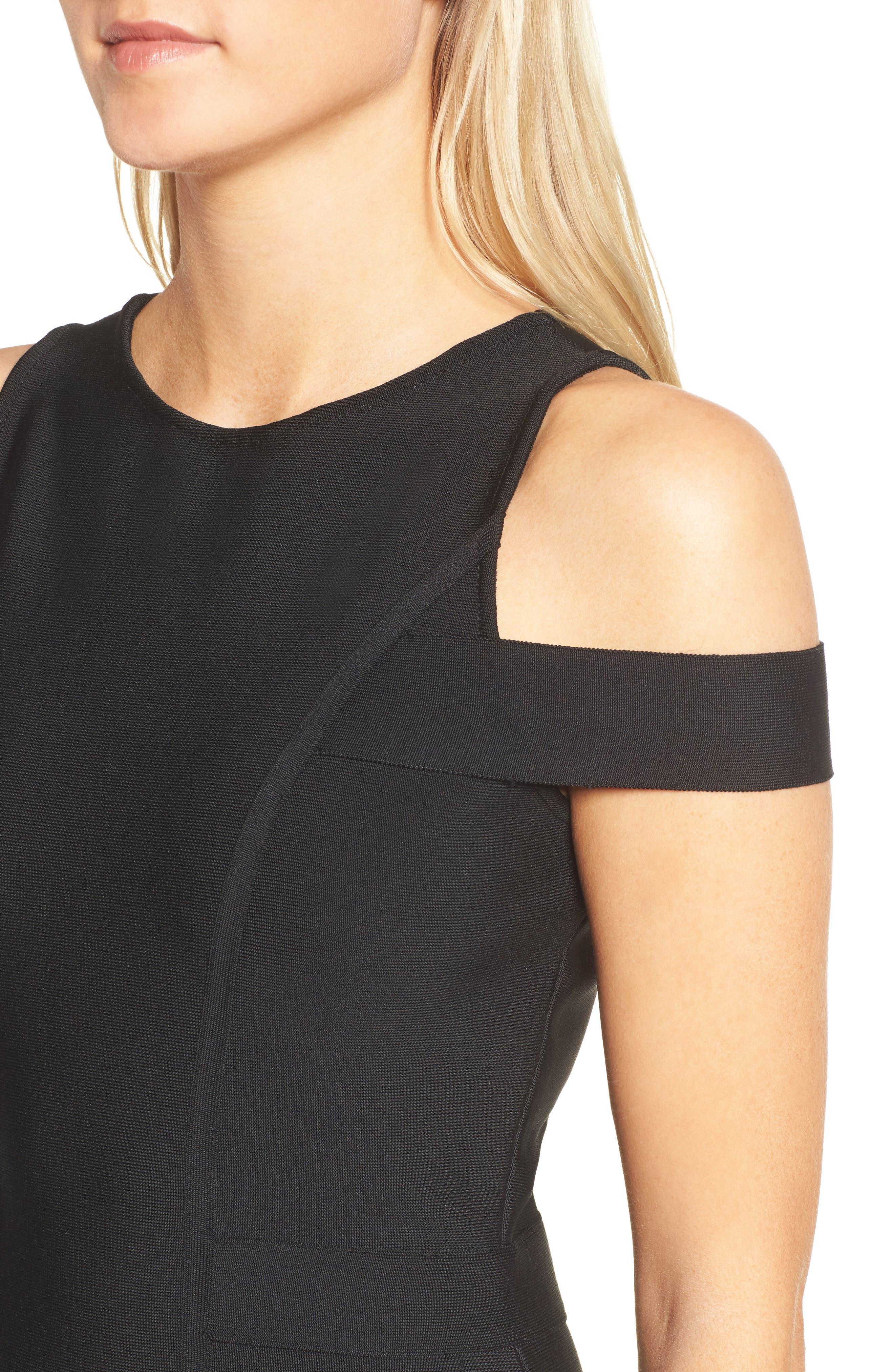 Cold Shoulder Body-Con Dress,                             Alternate thumbnail 4, color,                             BLACK