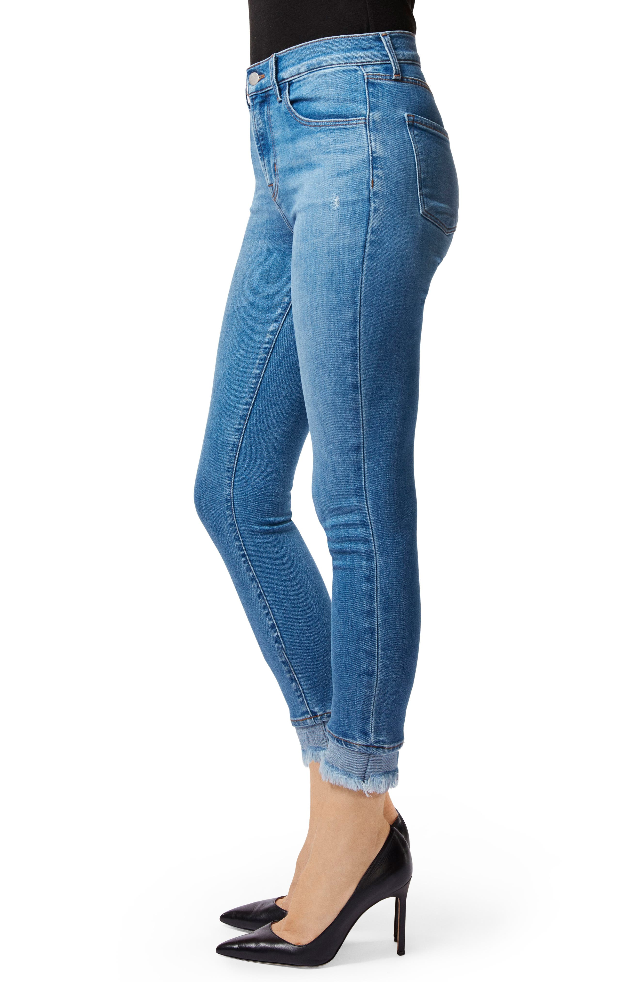 Alana Frayed High Waist Ankle Skinny Jeans,                             Alternate thumbnail 3, color,                             453