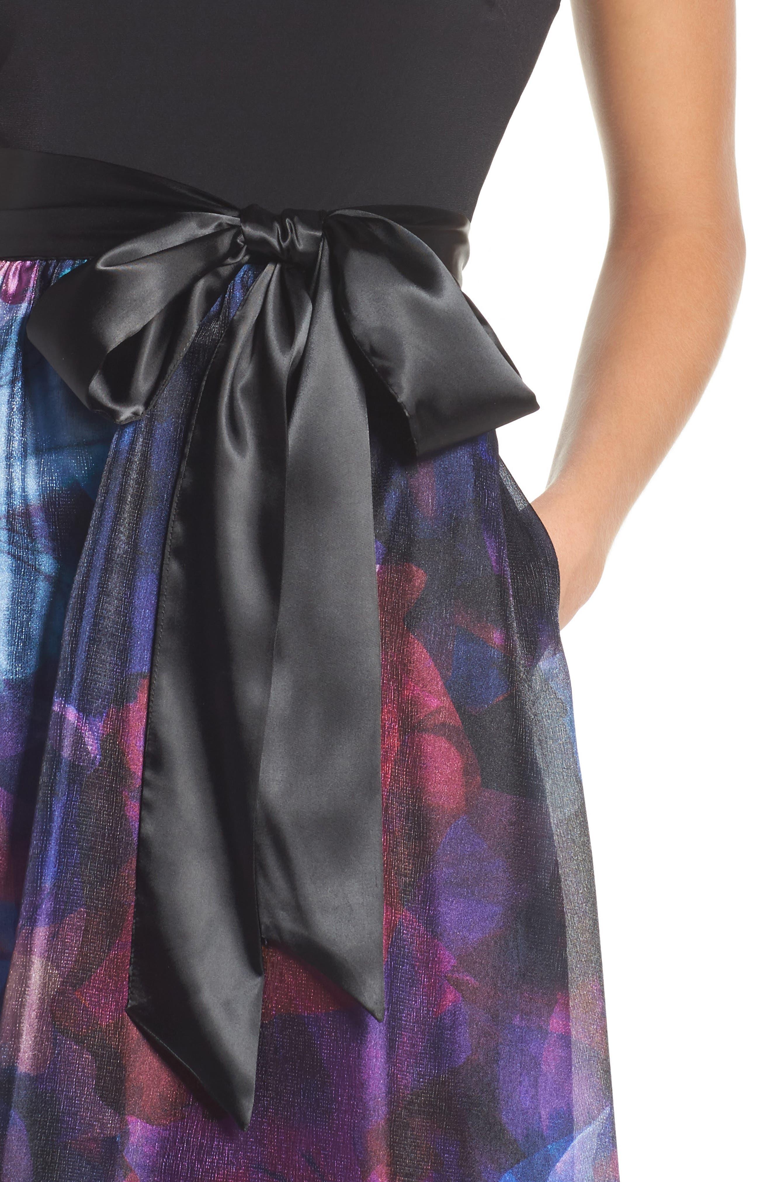 Floral Splash Mixed Media Maxi Dress,                             Alternate thumbnail 4, color,                             002