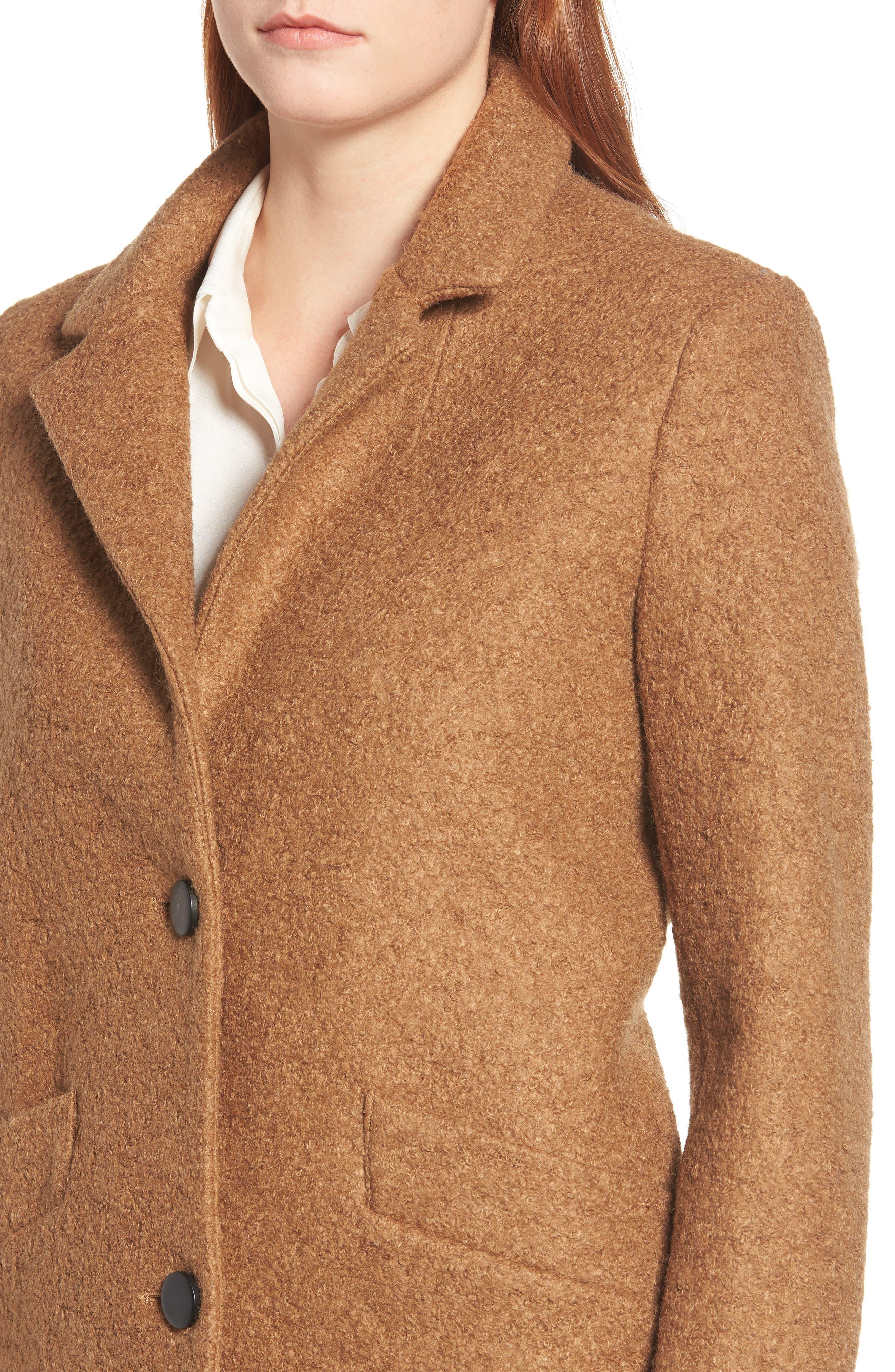 Pressed Bouclé Coat,                             Alternate thumbnail 4, color,                             CAMEL