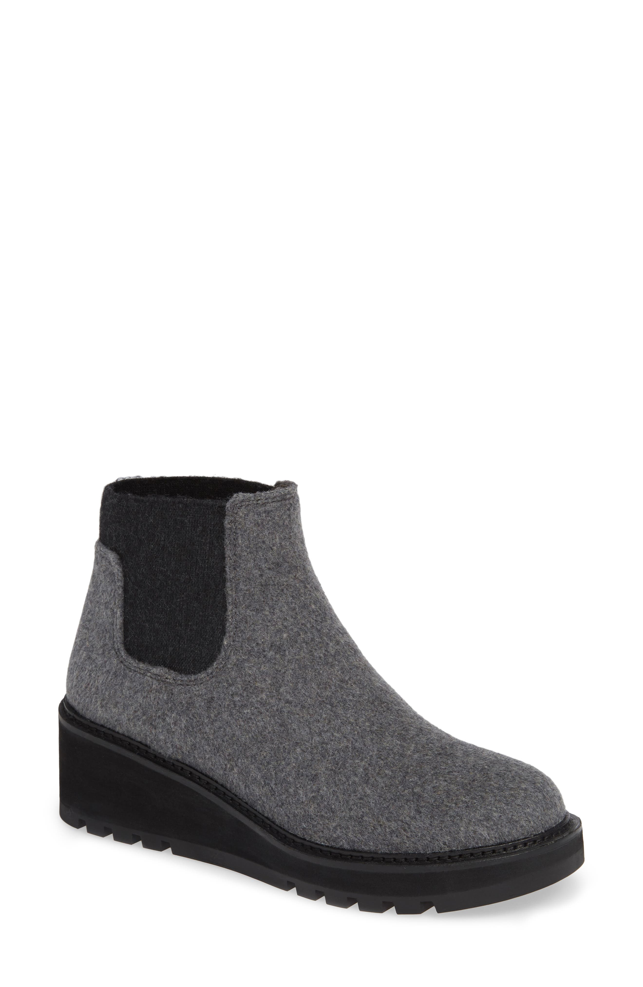 Wedge Chelsea Bootie,                             Main thumbnail 1, color,                             CHARCOAL FABRIC