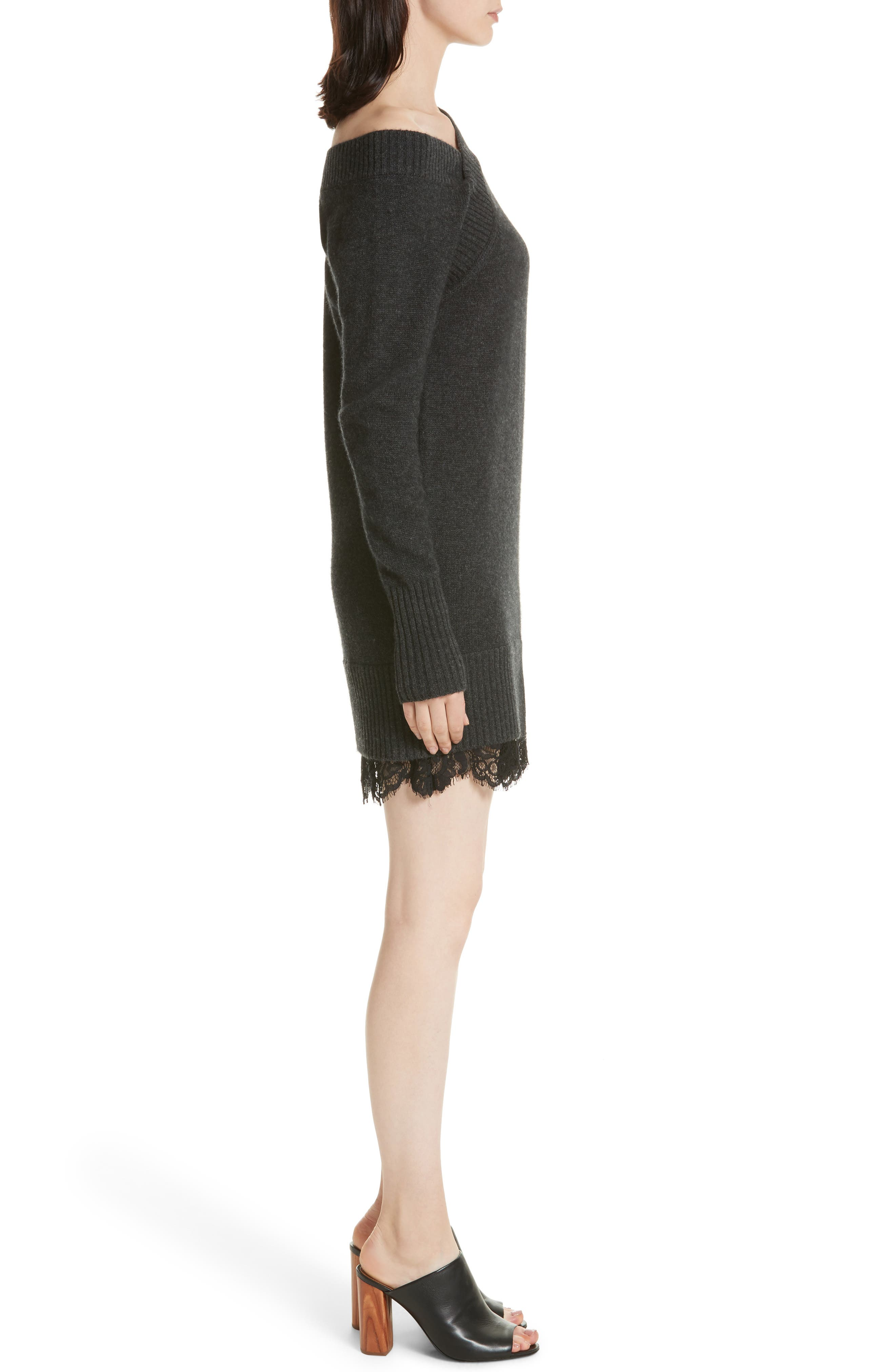 One-Shoulder Sweater Dress,                             Alternate thumbnail 3, color,                             009