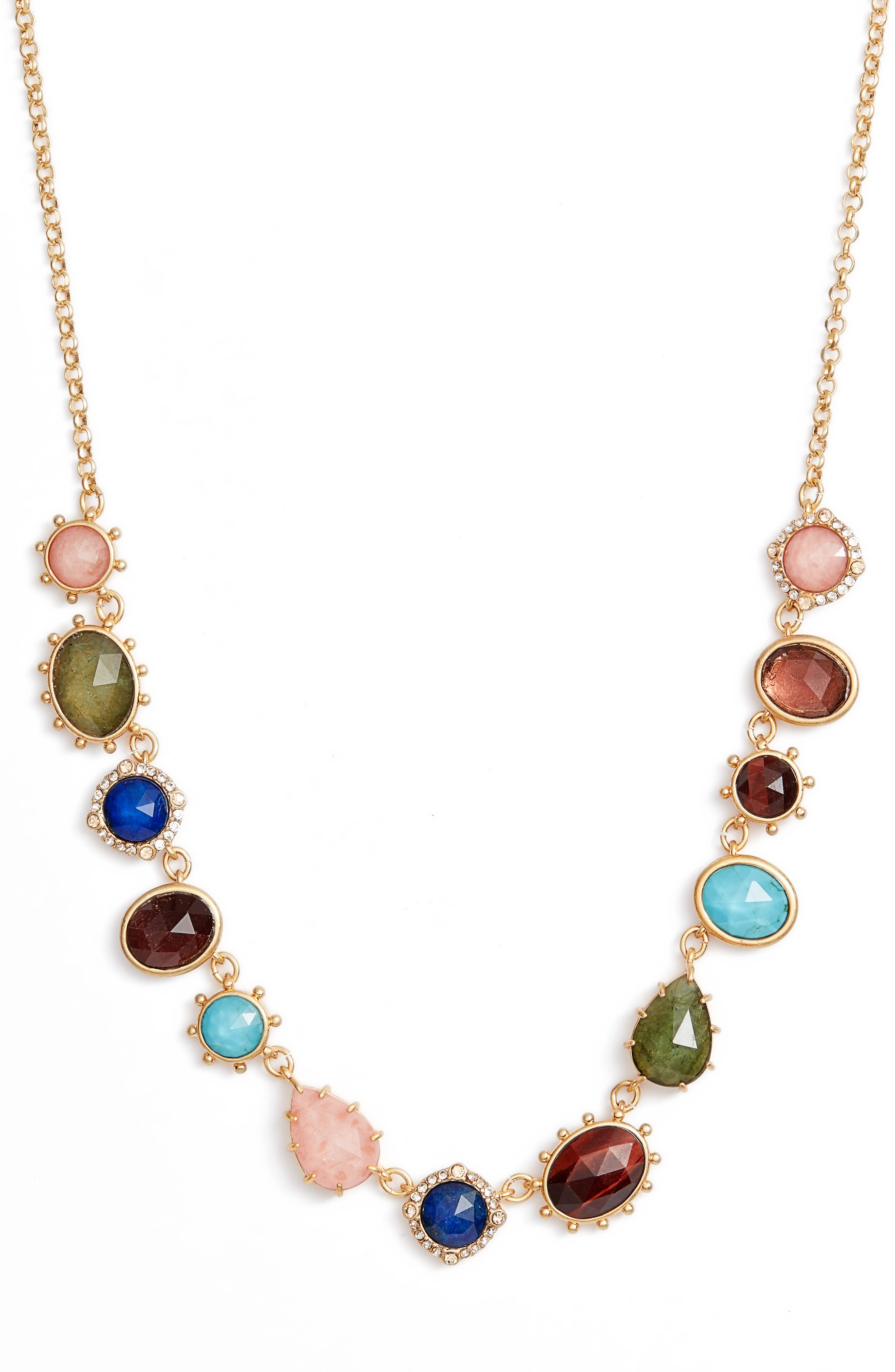 stone statement necklace,                         Main,                         color, 710