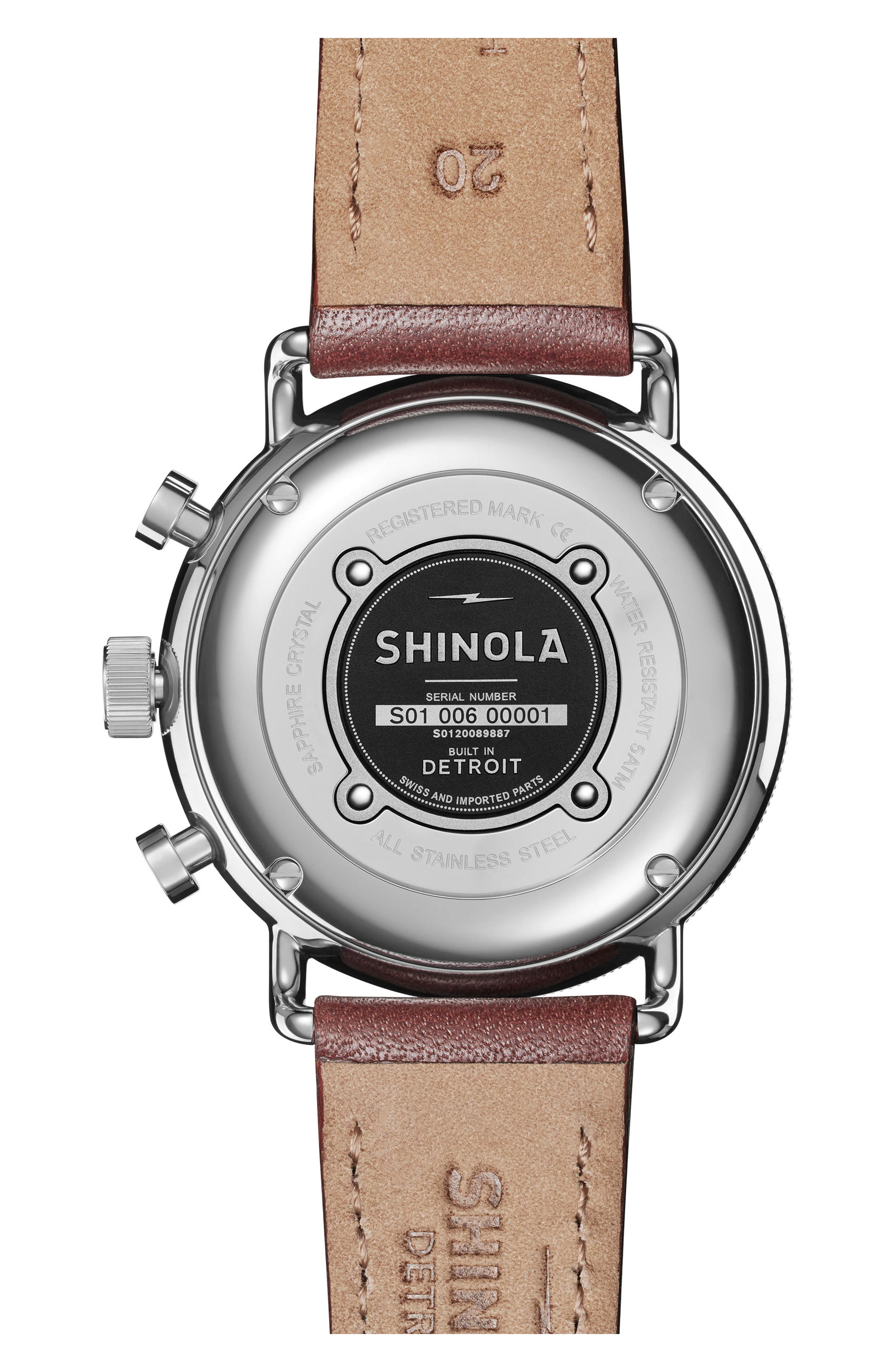 The Canfield Chrono Leather Strap Watch, 40mm,                             Alternate thumbnail 2, color,                             DARK COGNAC/ BLUE/ SILVER
