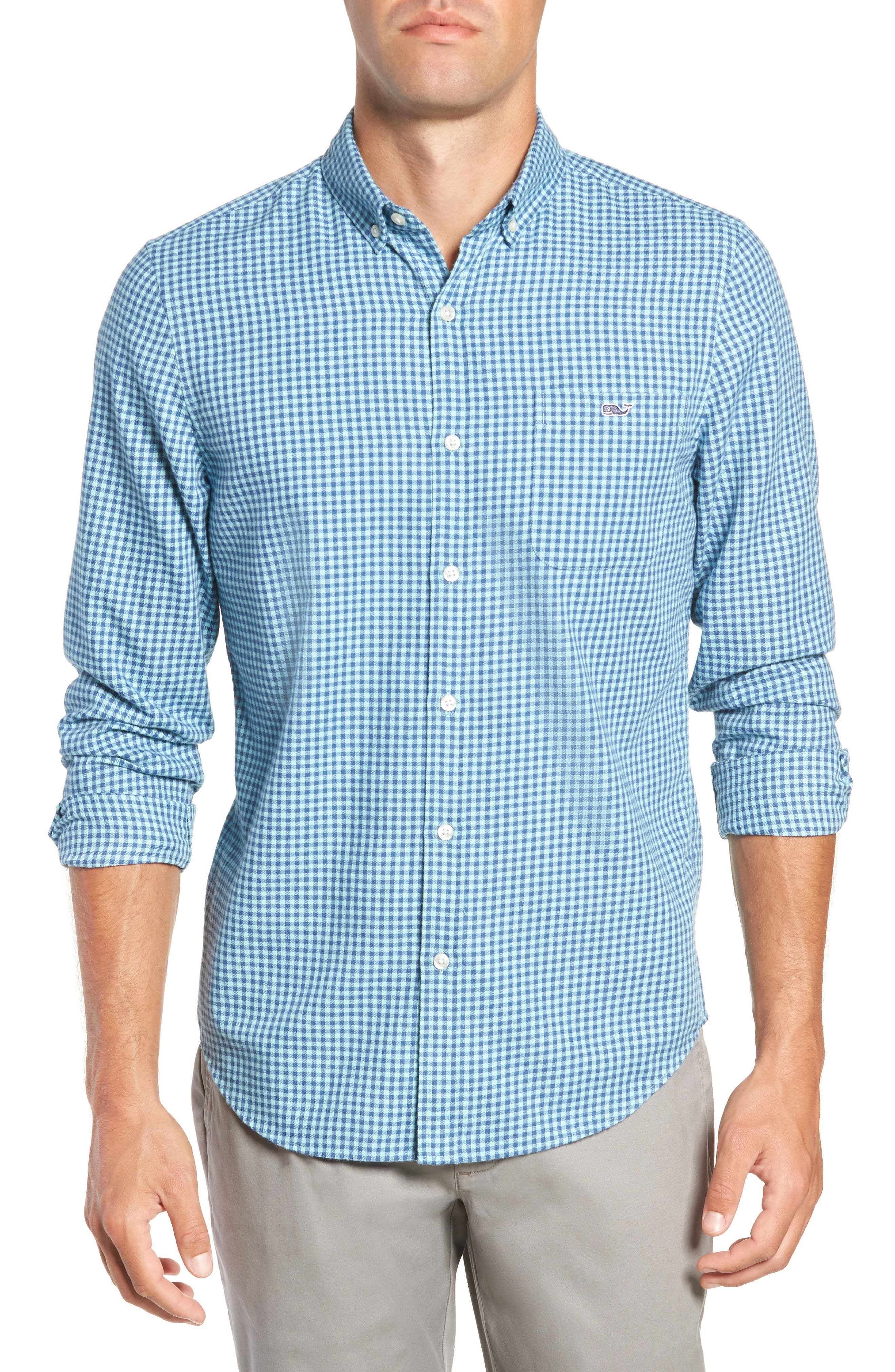 Tradewinds Slim Fit Check Flannel Shirt,                         Main,                         color, POOL SIDE
