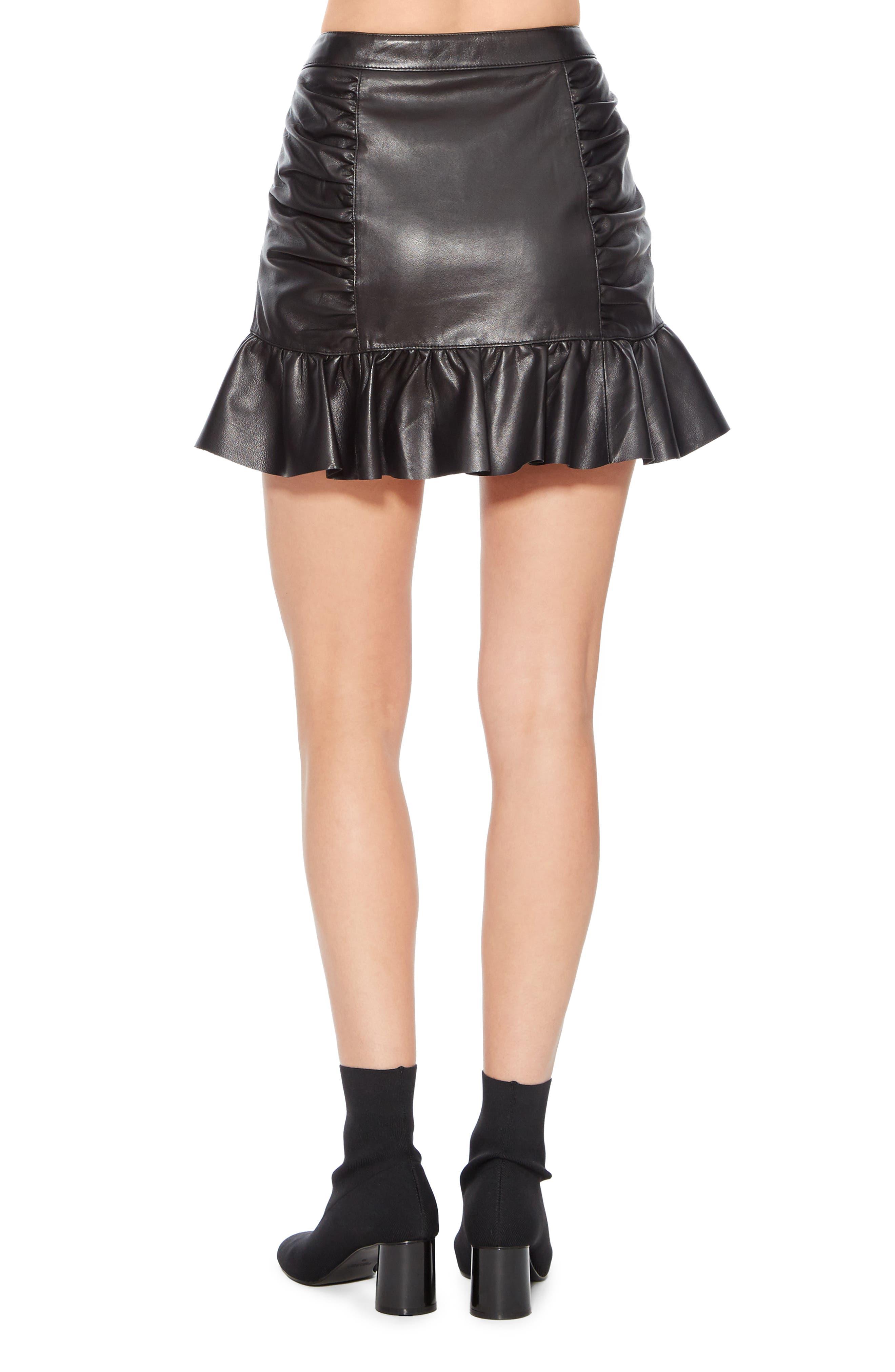 Alexandra Leather Ruffle Skirt,                             Alternate thumbnail 2, color,                             BLACK