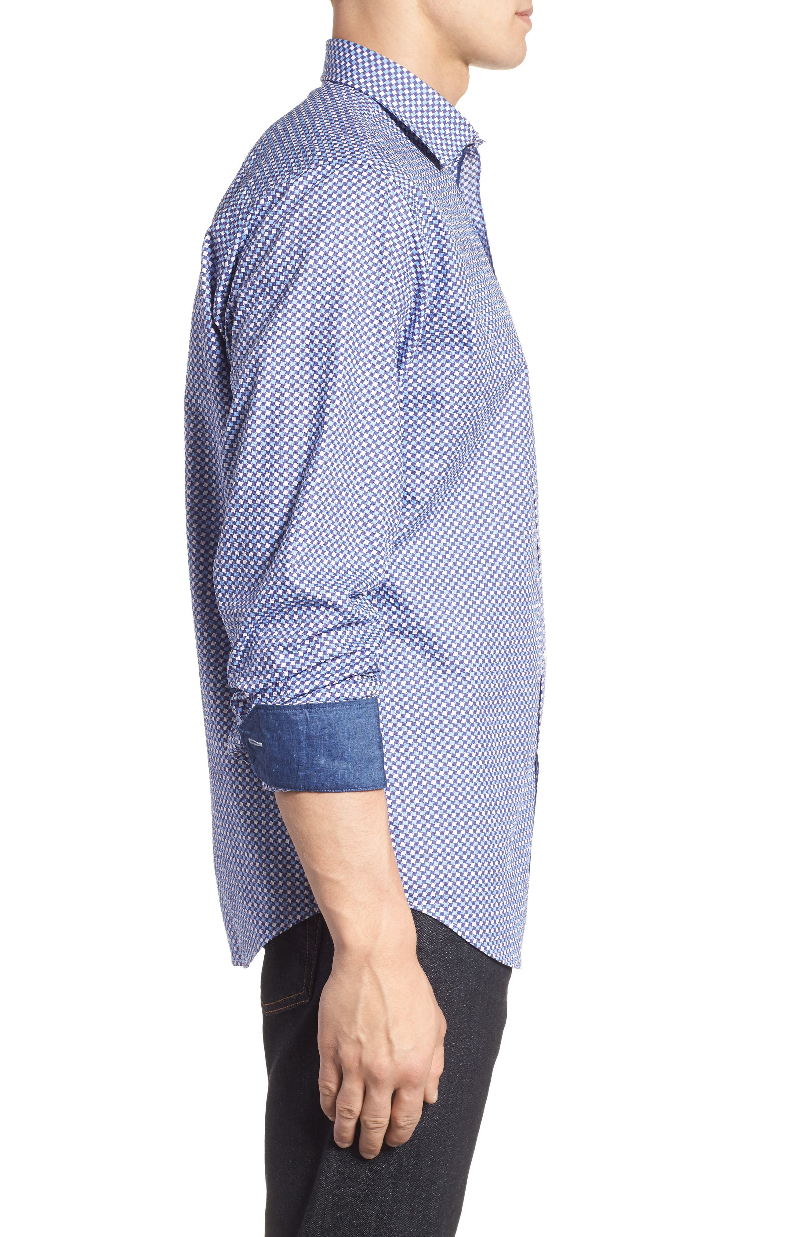 Classic Fit Print Seersucker Sport Shirt,                             Alternate thumbnail 3, color,                             CLASSIC BLUE