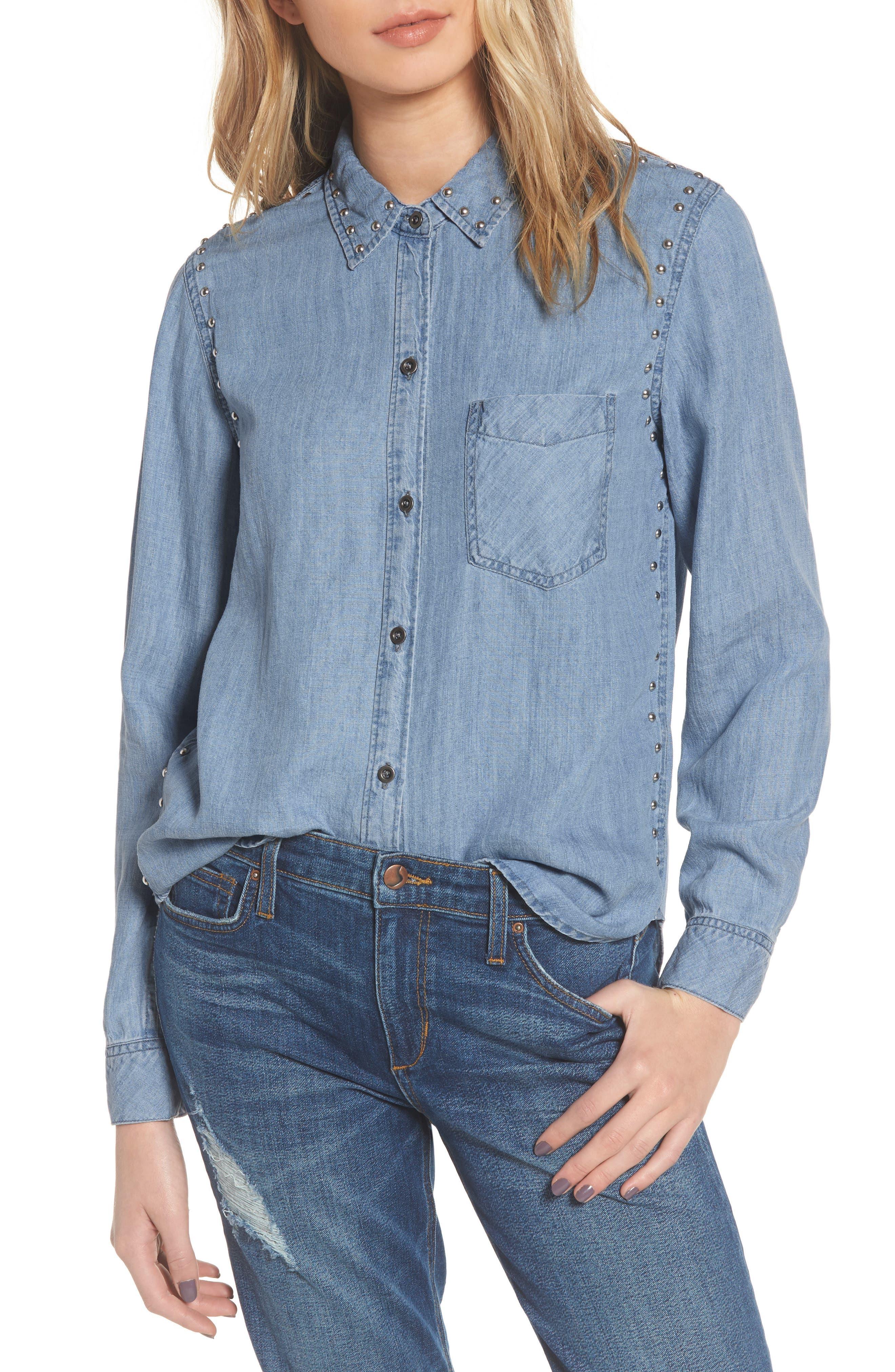 Ingrid Studded Shirt,                         Main,                         color, 493