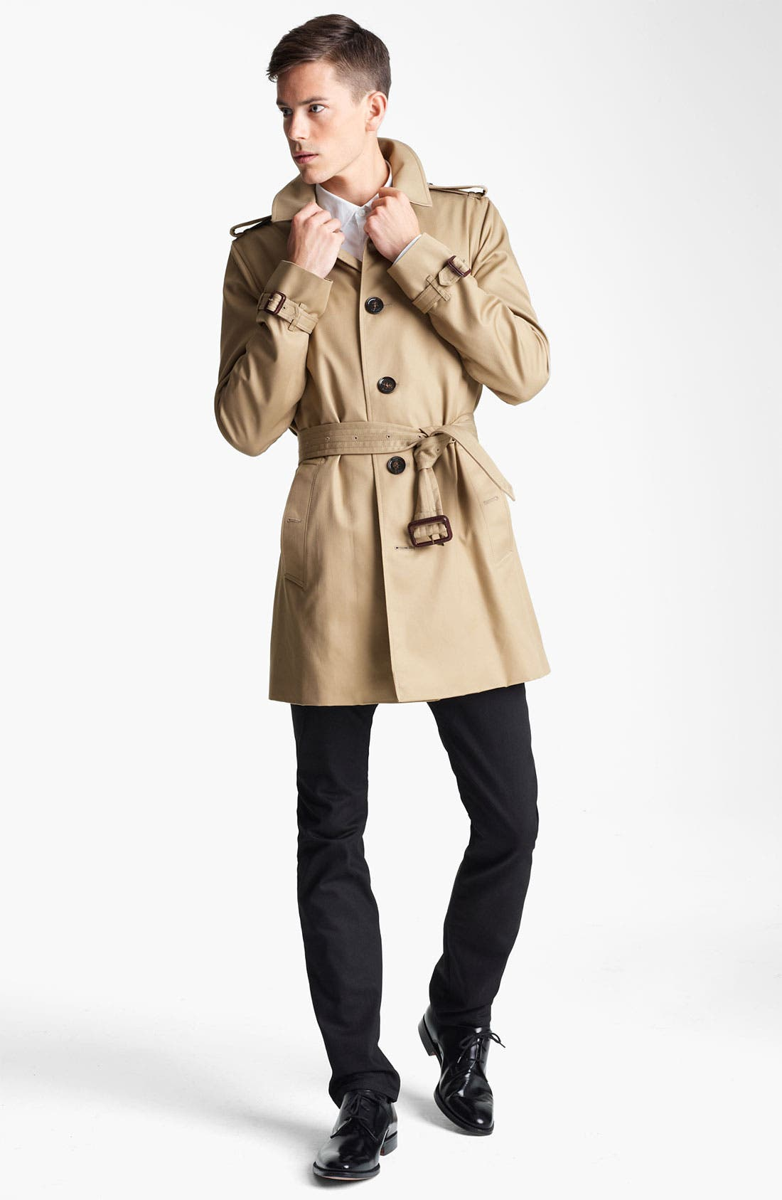 London 'Britton' Single Breasted Trench Coat,                             Alternate thumbnail 3, color,                             250