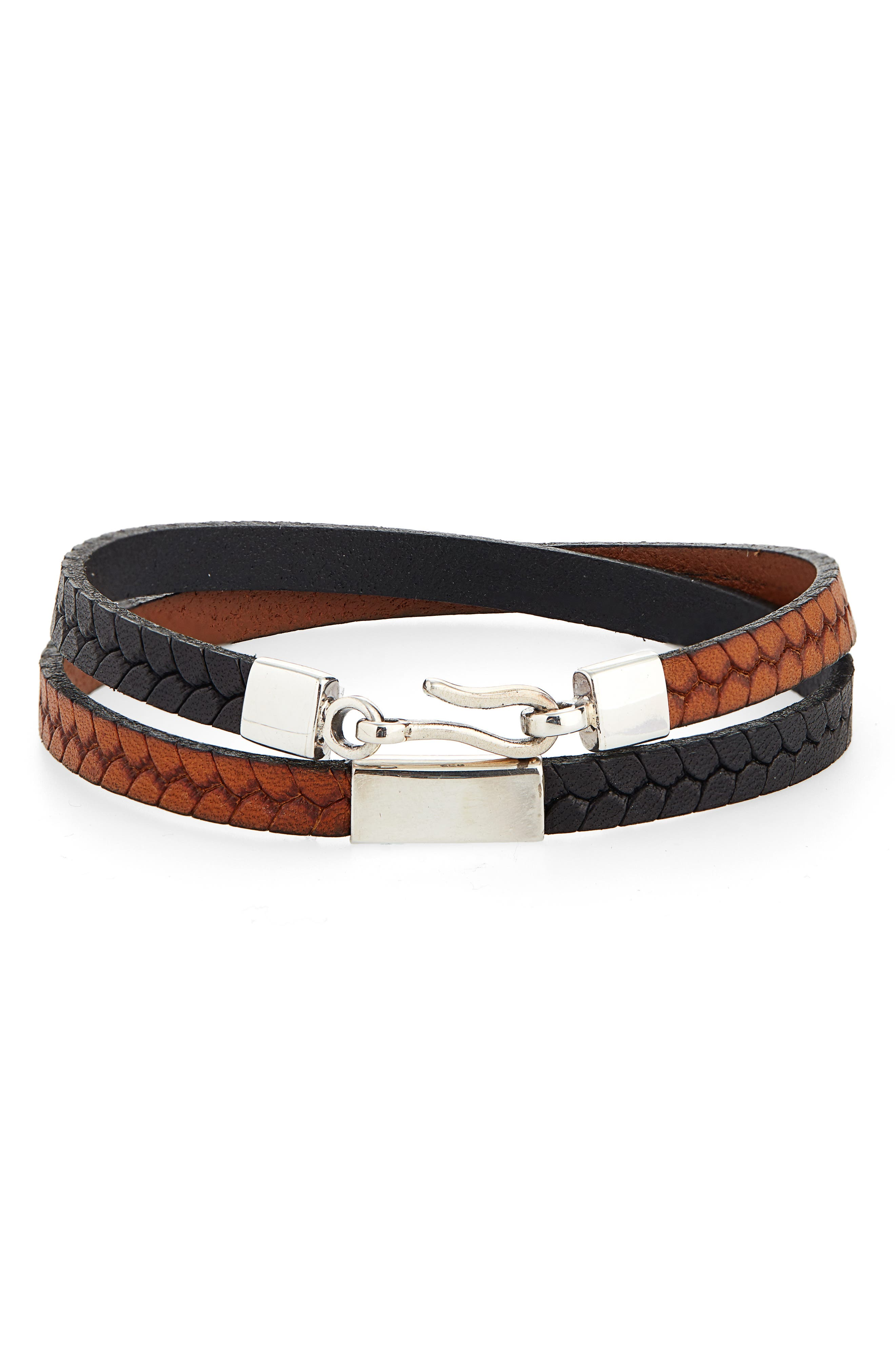 CAPUTO & CO. Embossed Leather Wrap Bracelet in Black / Tan