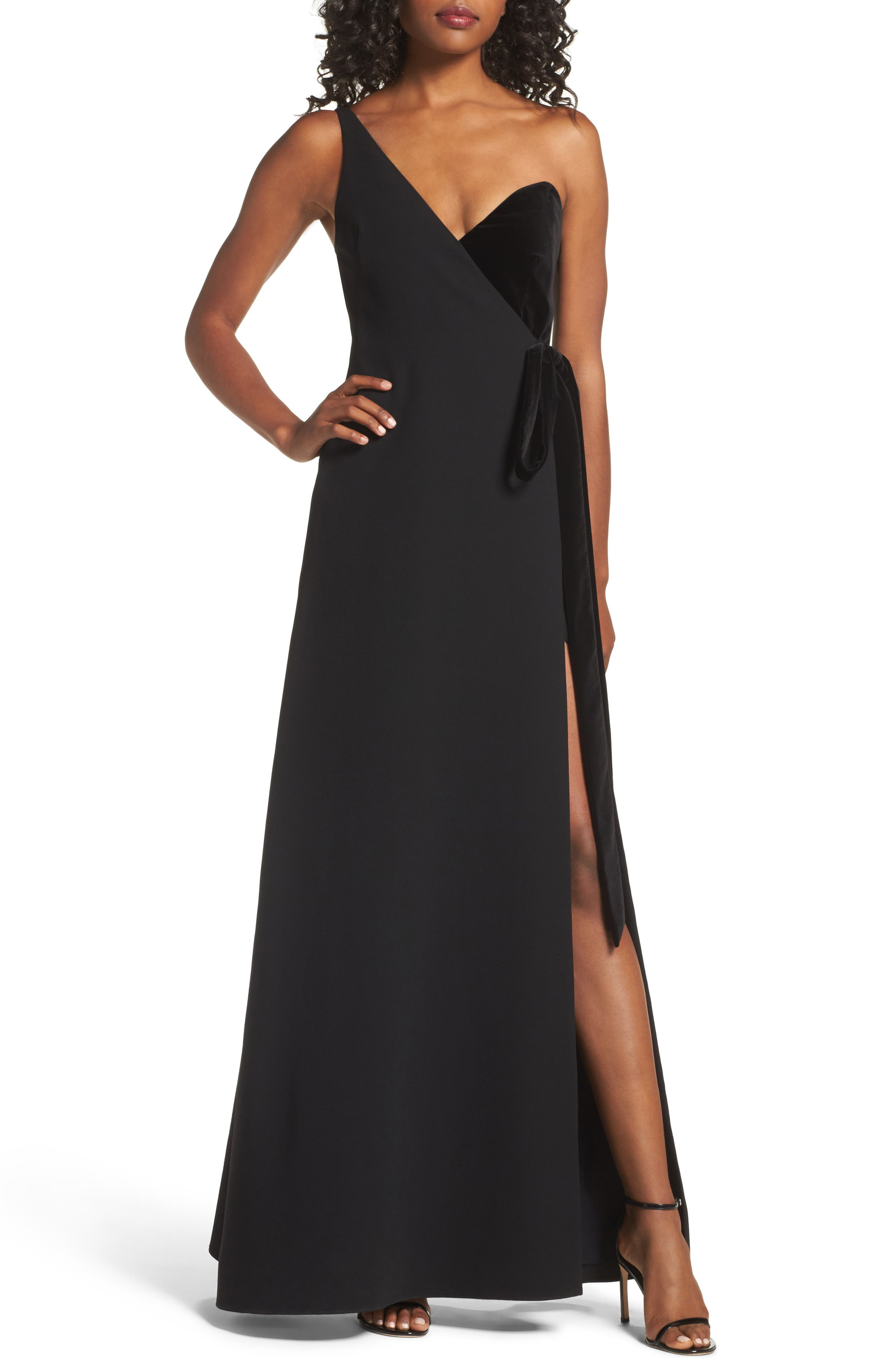 One-Shoulder Velvet Panel Gown,                         Main,                         color, 001