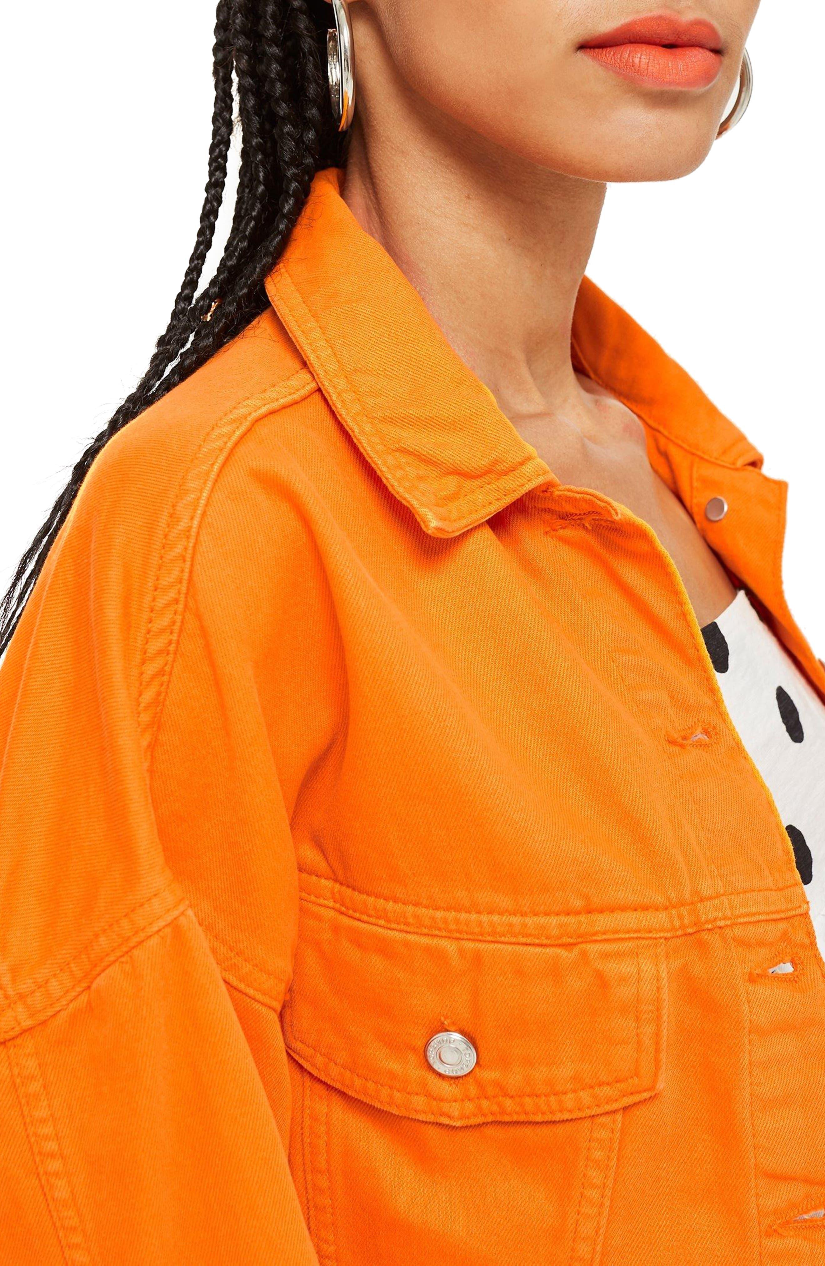 MOTO Hacked Crop Denim Jacket,                             Alternate thumbnail 3, color,                             800