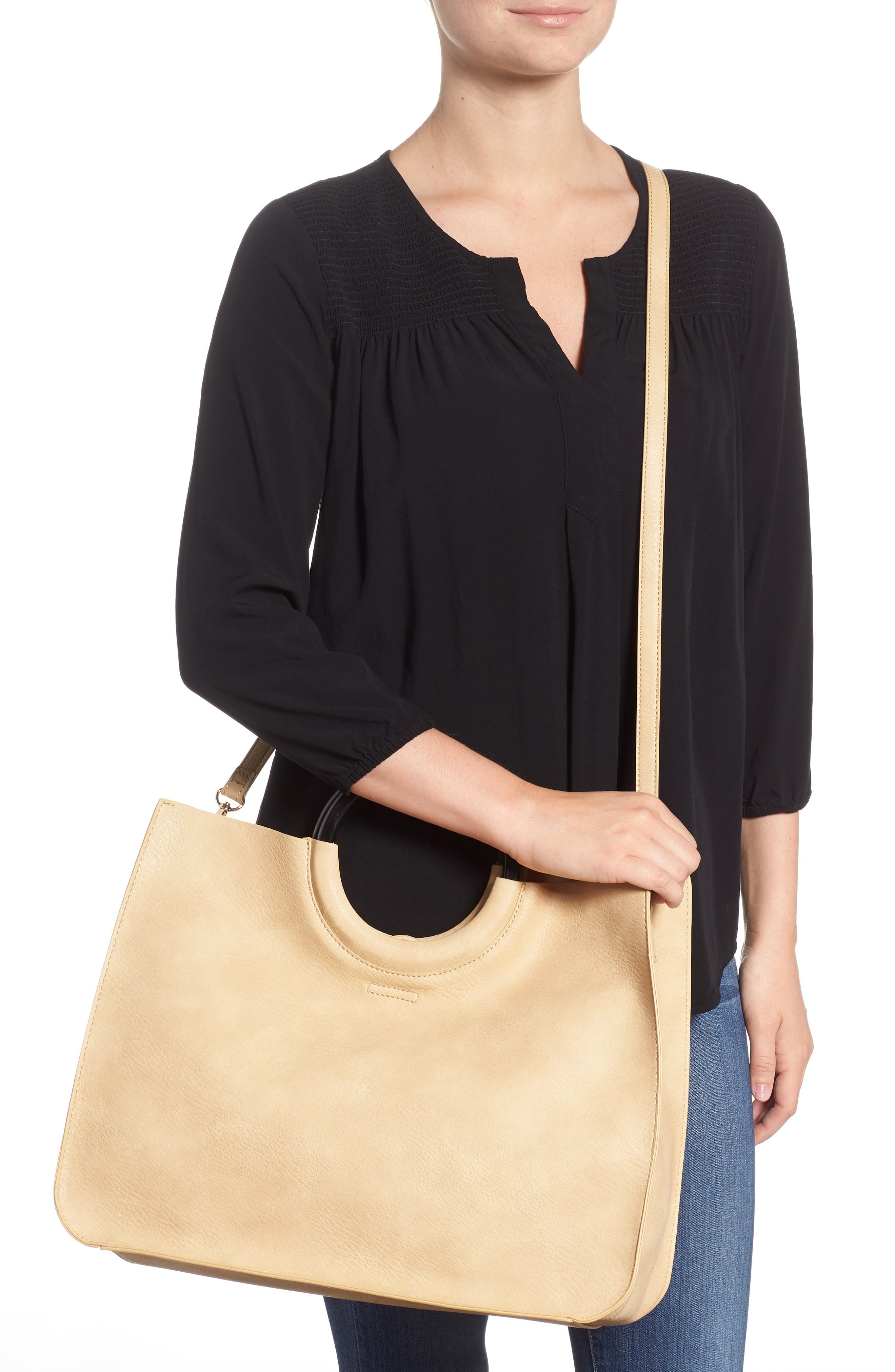 Wood Handle Faux Leather Tote,                             Alternate thumbnail 2, color,                             NATURAL