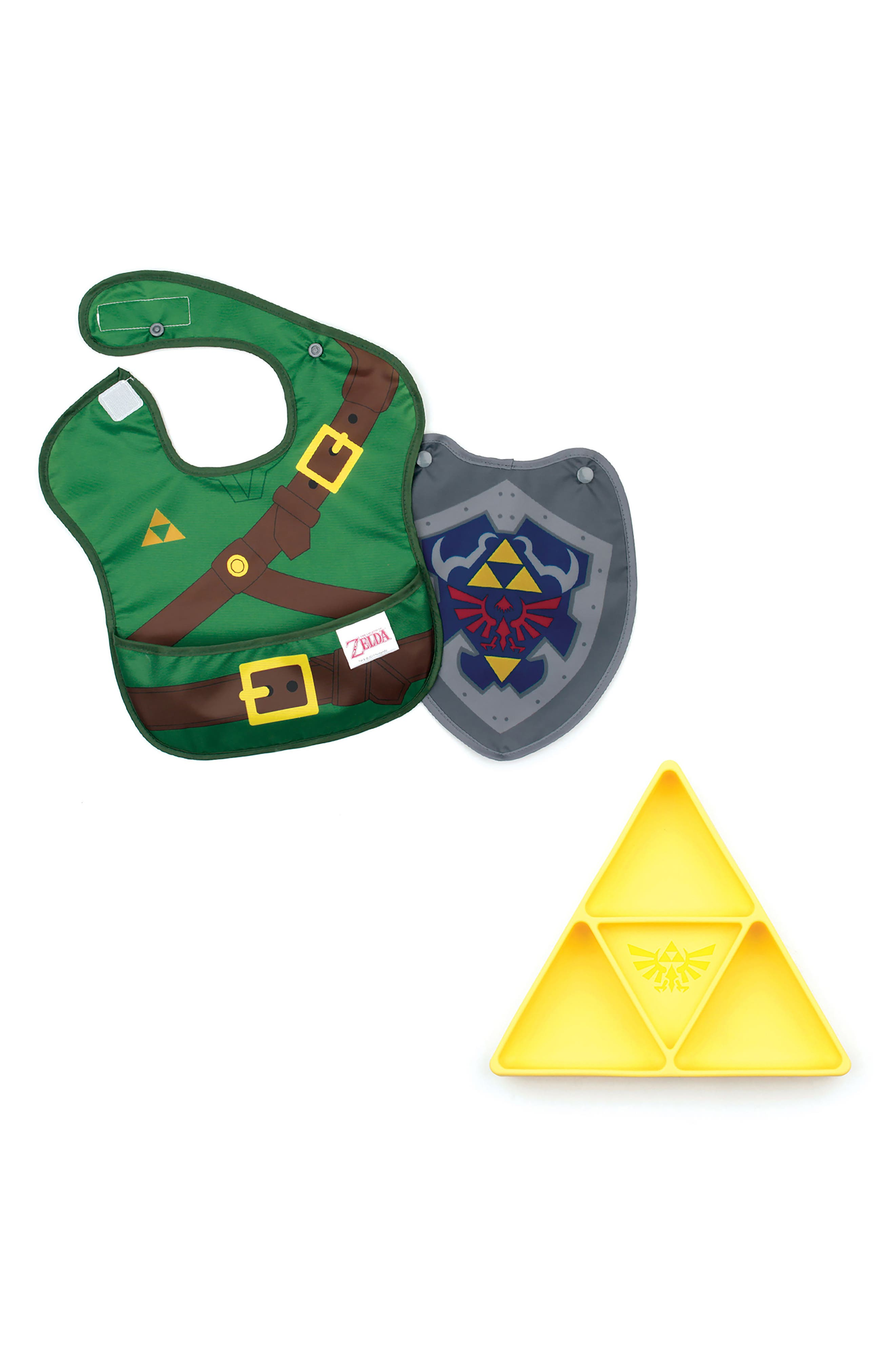 The Legend of Zelda Grip Dish & Caped SuperBib Set,                             Main thumbnail 1, color,