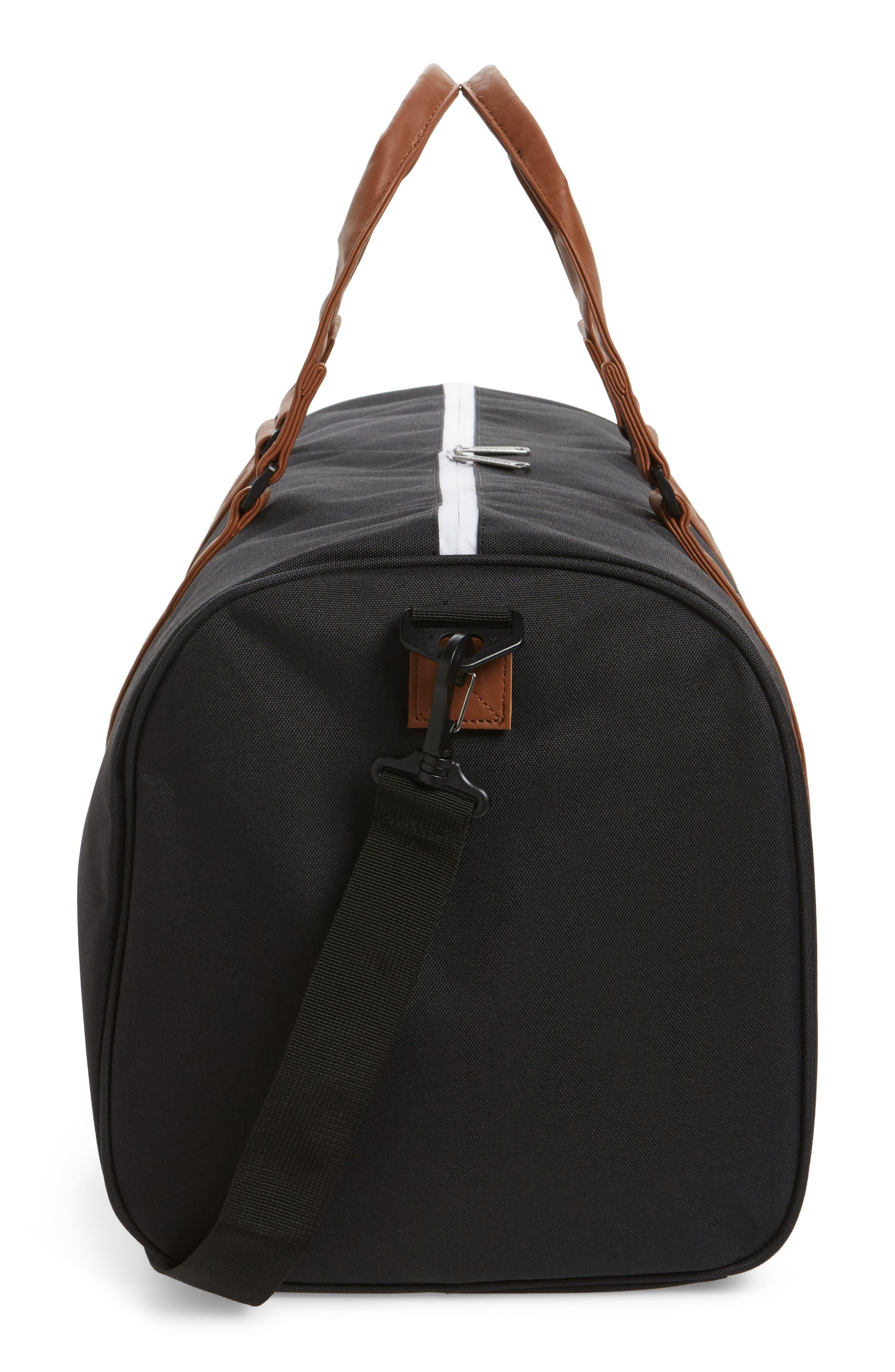 'Novel' Duffel Bag,                             Alternate thumbnail 6, color,                             BLACK/ TAN