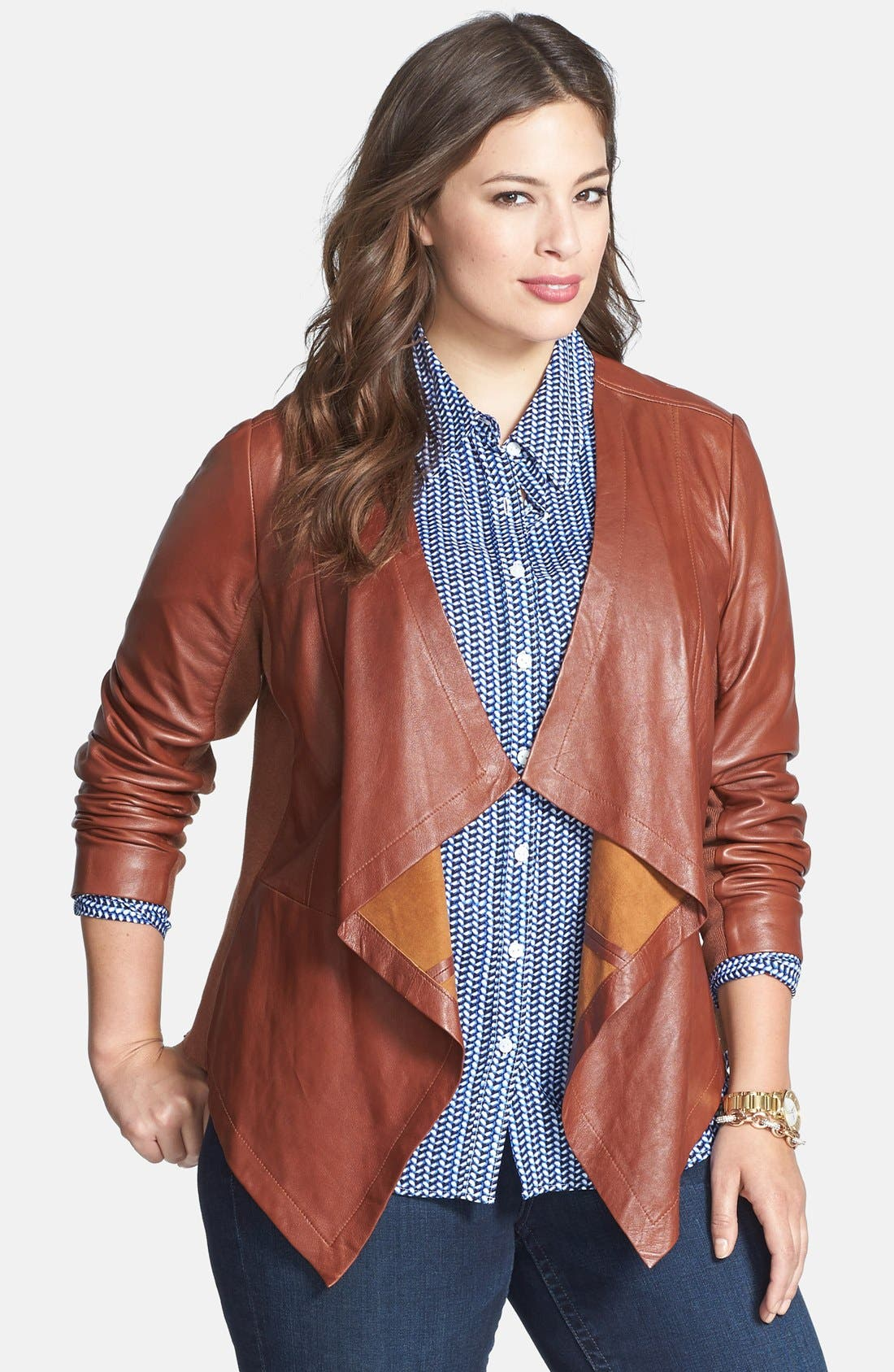 Waterfall Front Leather Jacket,                             Main thumbnail 2, color,