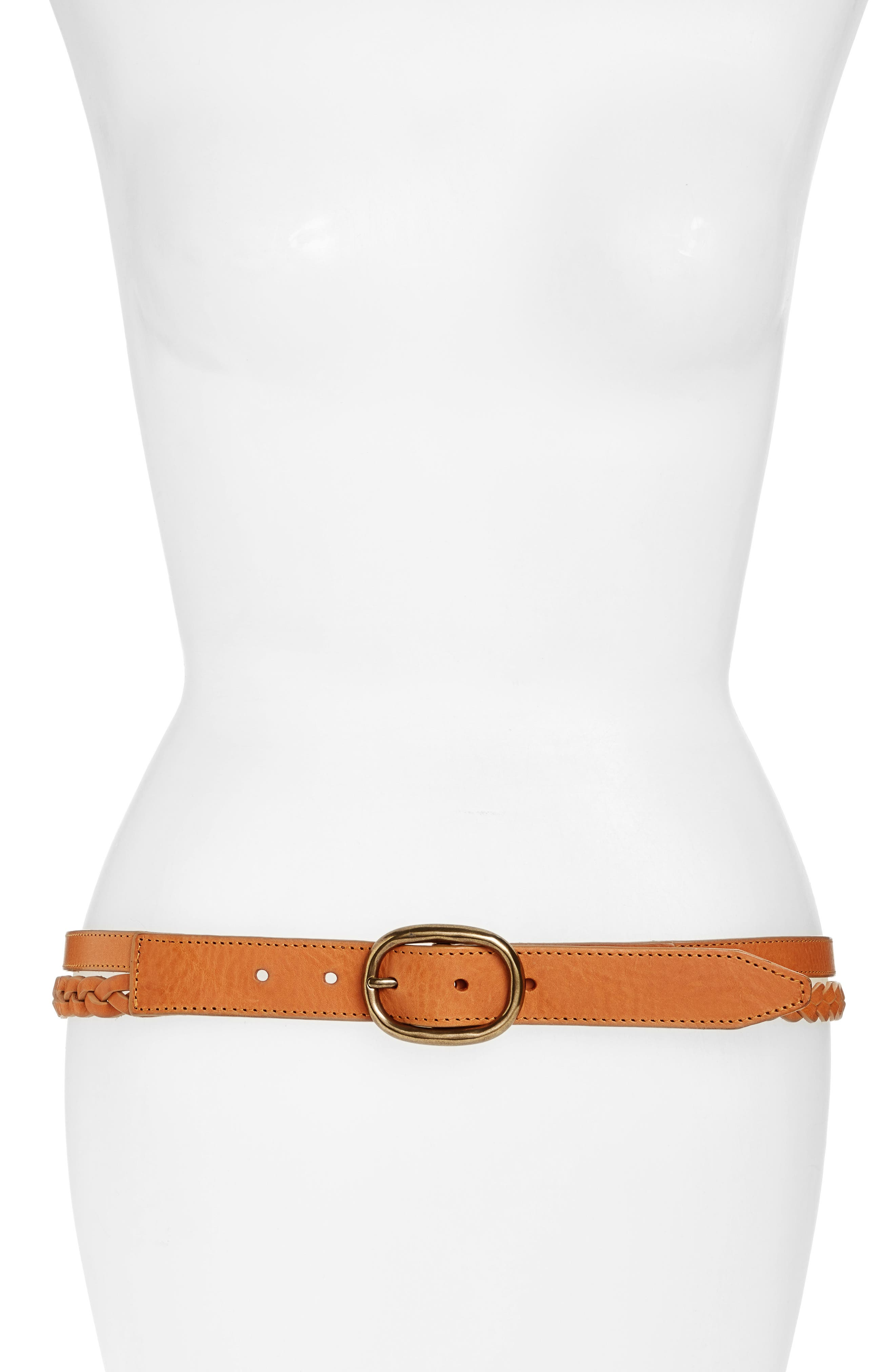 Calla Braided Leather Hip Belt,                         Main,                         color, 250