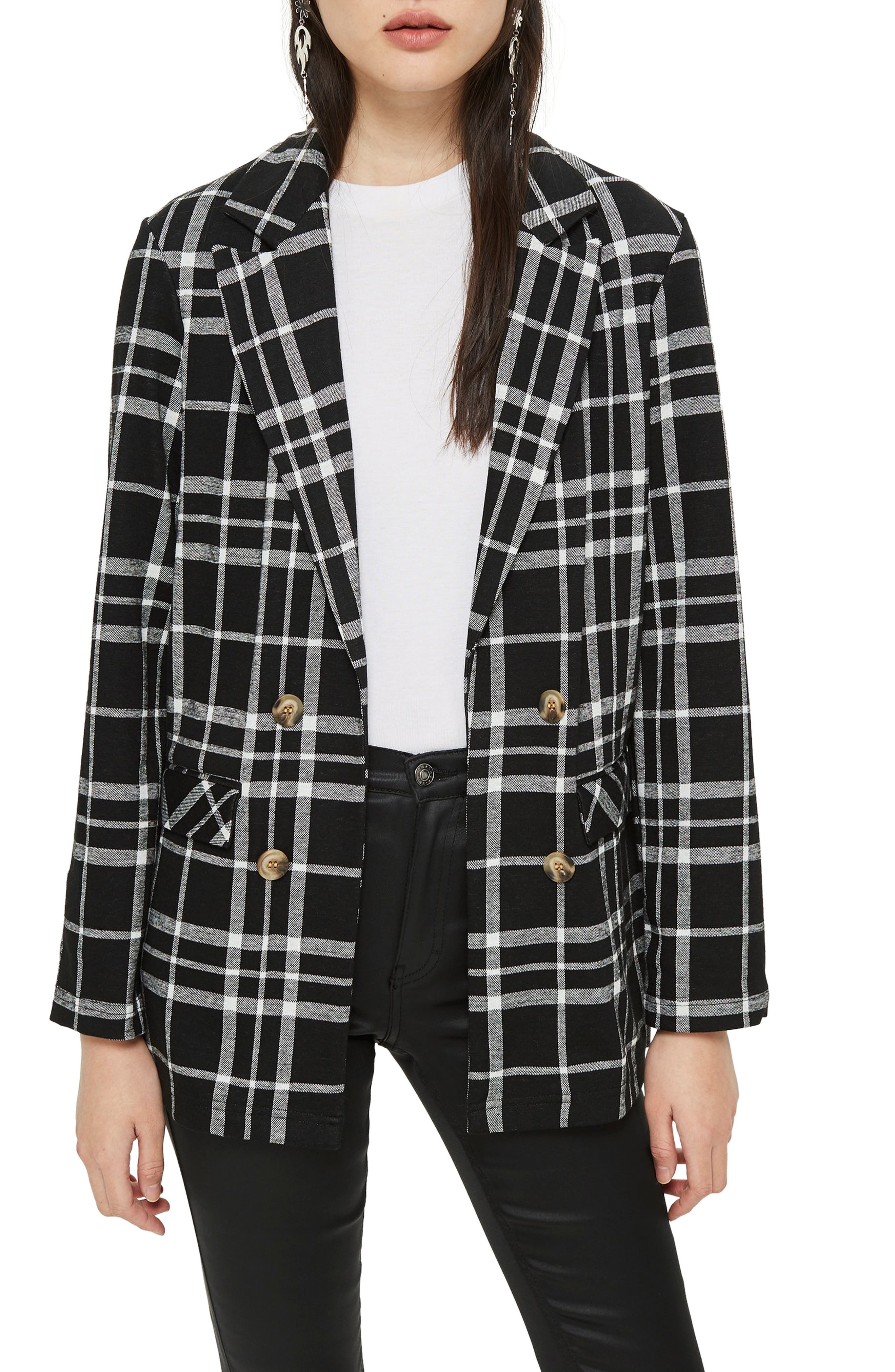 Double Breasted Check Jacket,                         Main,                         color, BLACK MULTI