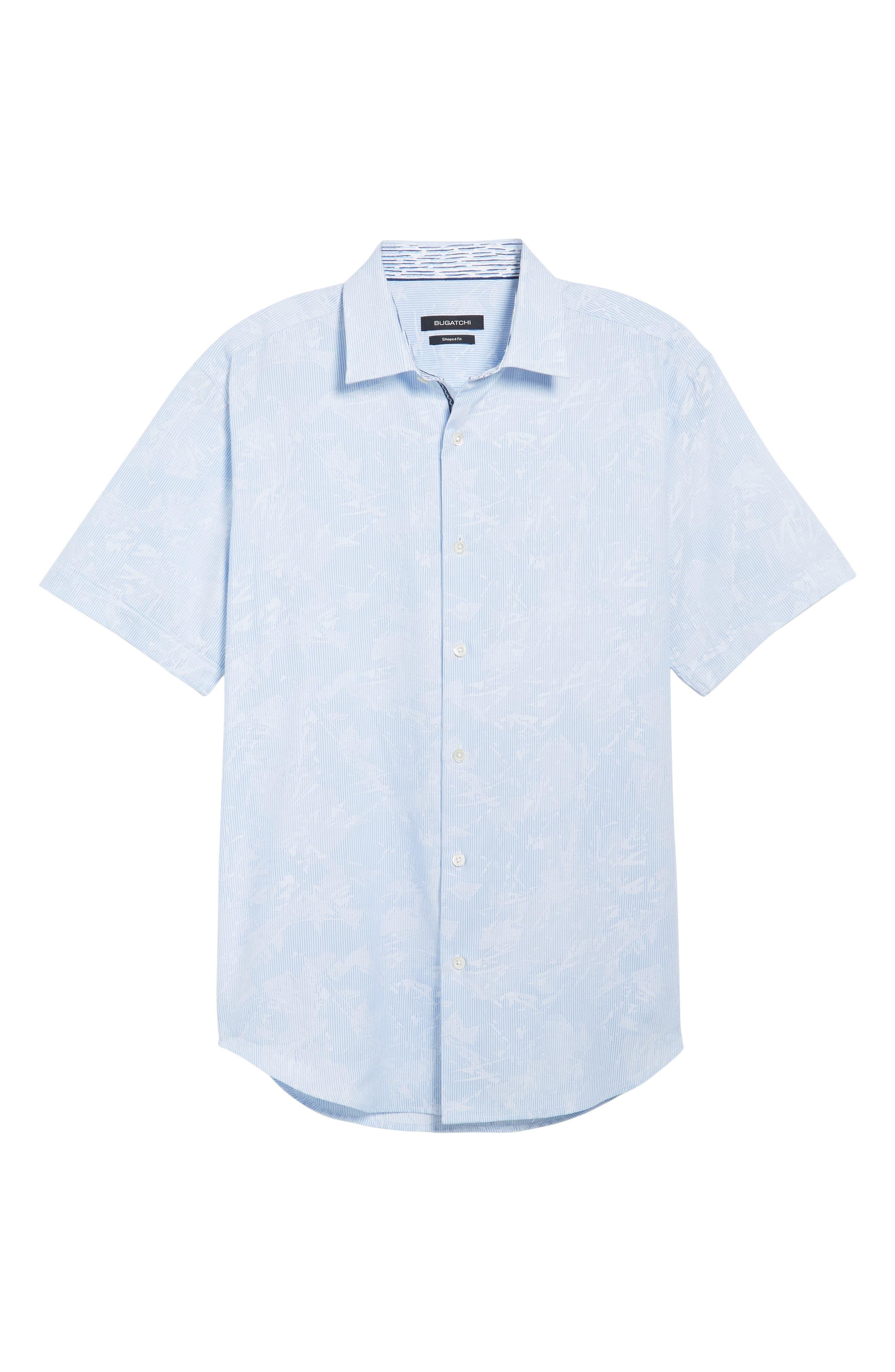 Shaped Fit Jacquard Stripe Sport Shirt,                             Alternate thumbnail 6, color,                             459