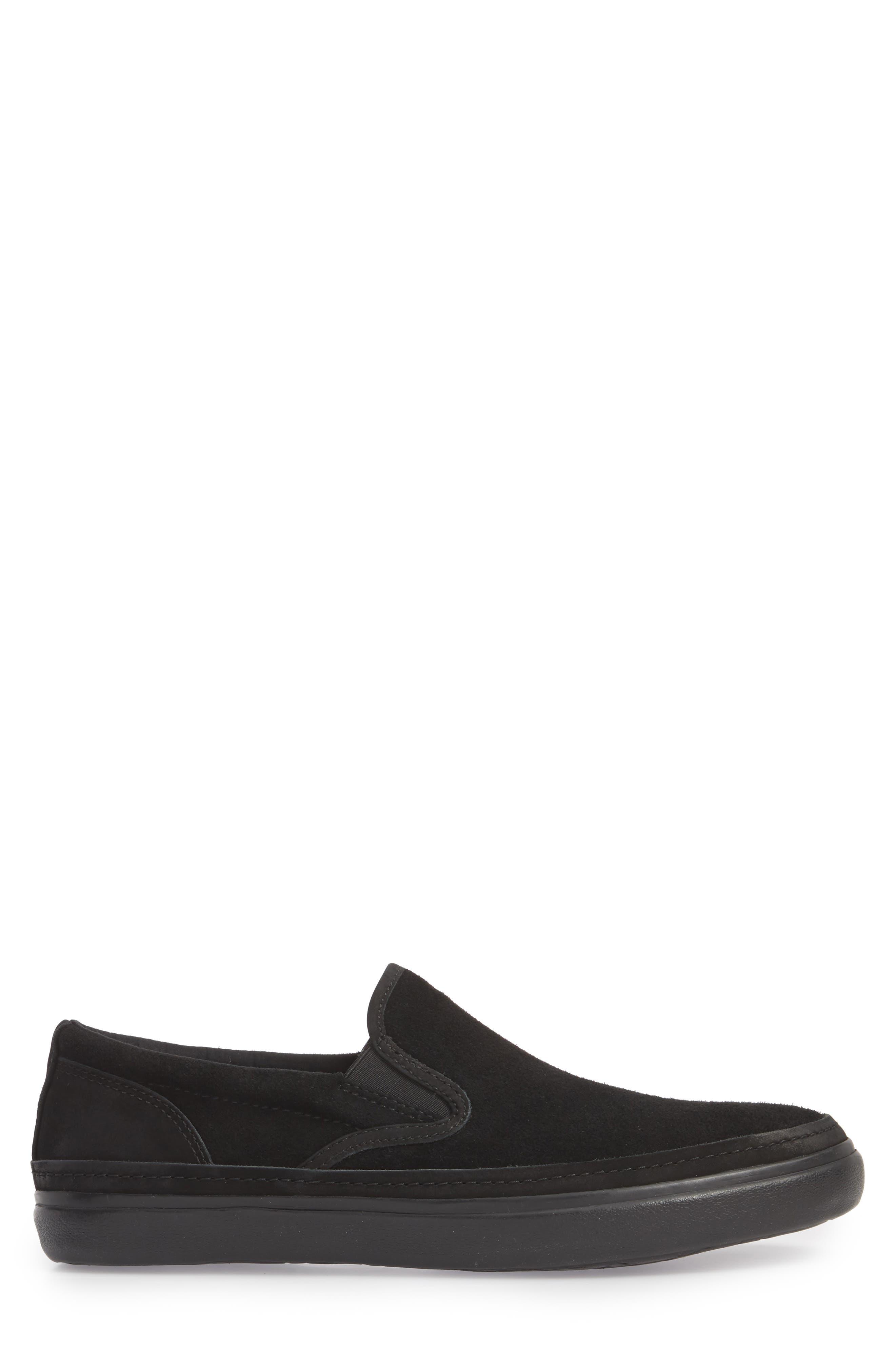 Suede Jet Slip-On Sneaker,                             Alternate thumbnail 3, color,                             BLACK SUEDE