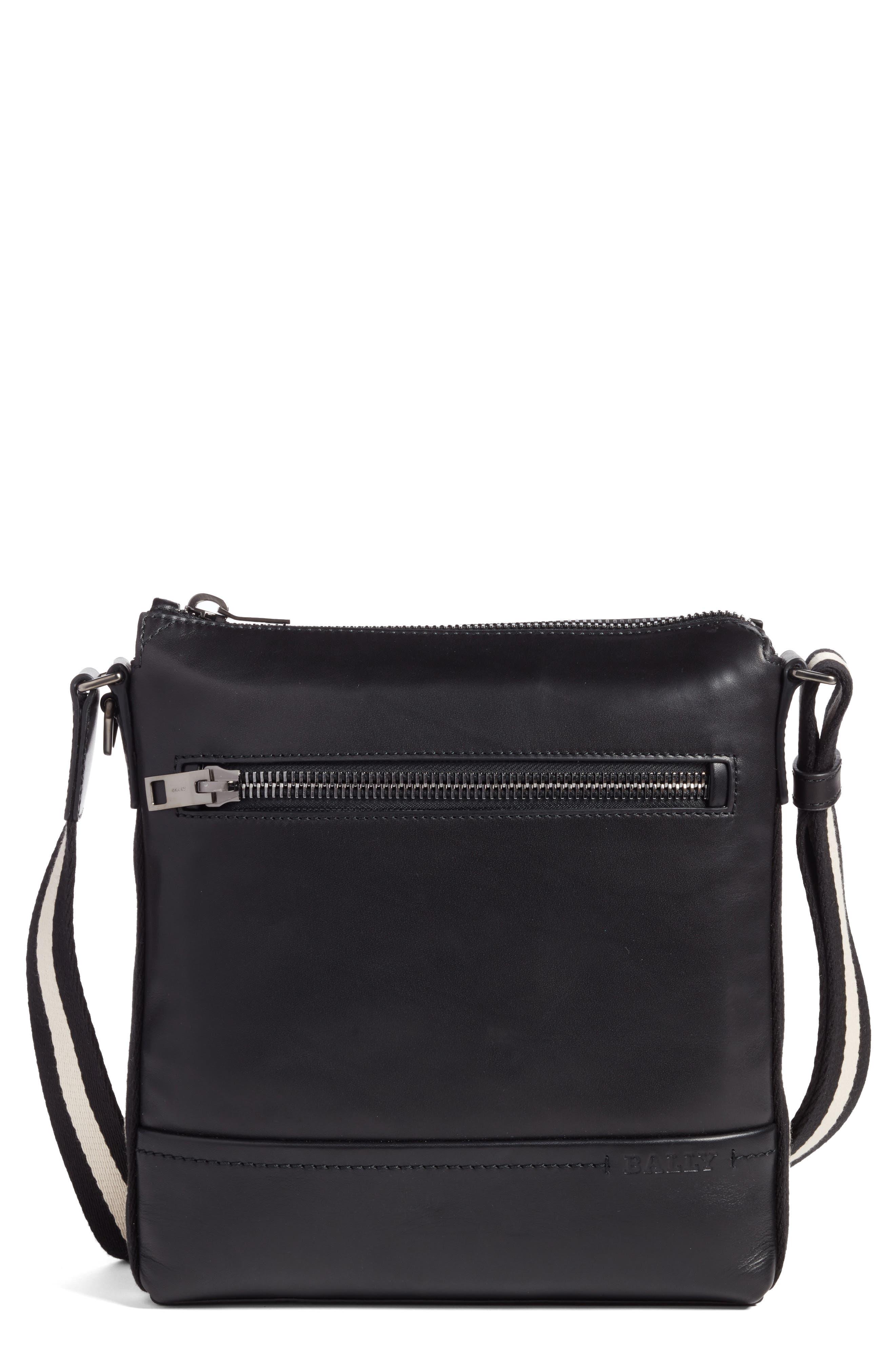 BALLY Trezzini Leather Crossbody Bag, Main, color, 001