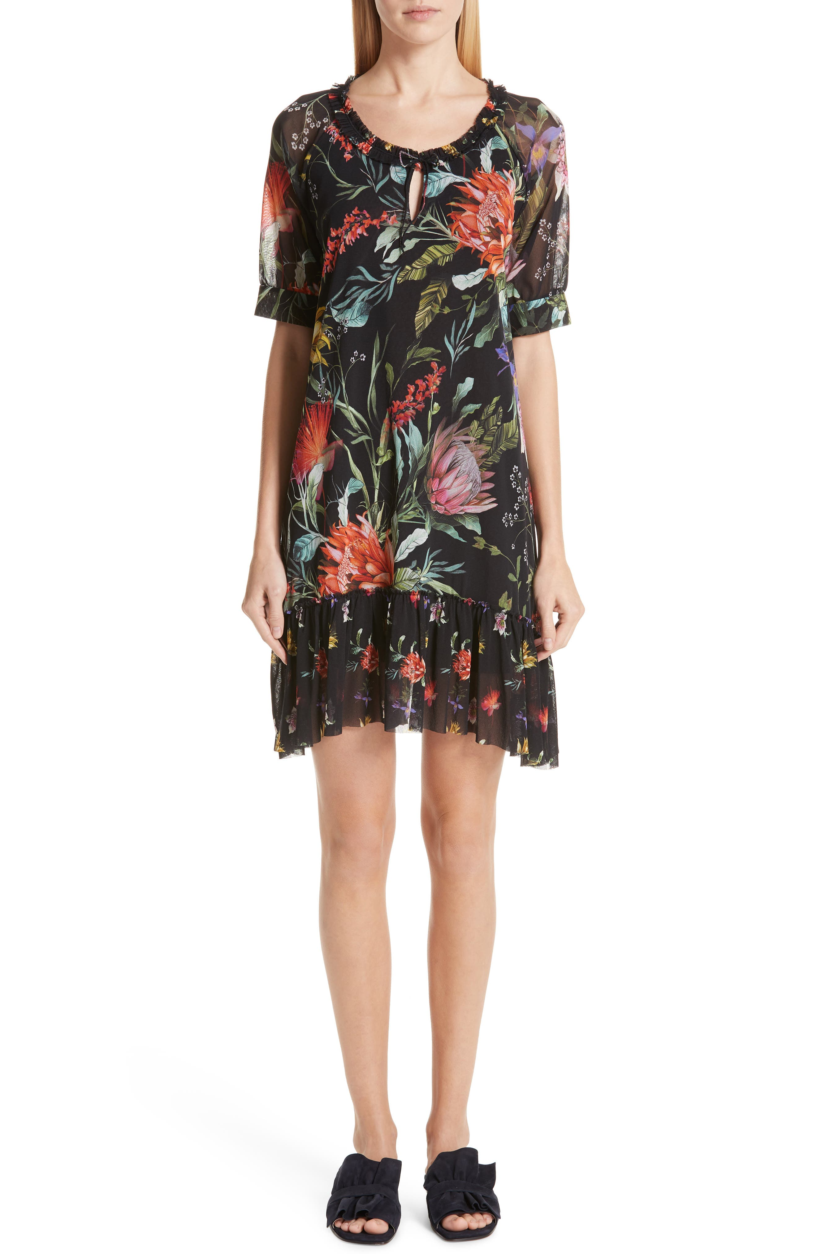Fuzzi Floral Ruffle Tulle Dress, Black