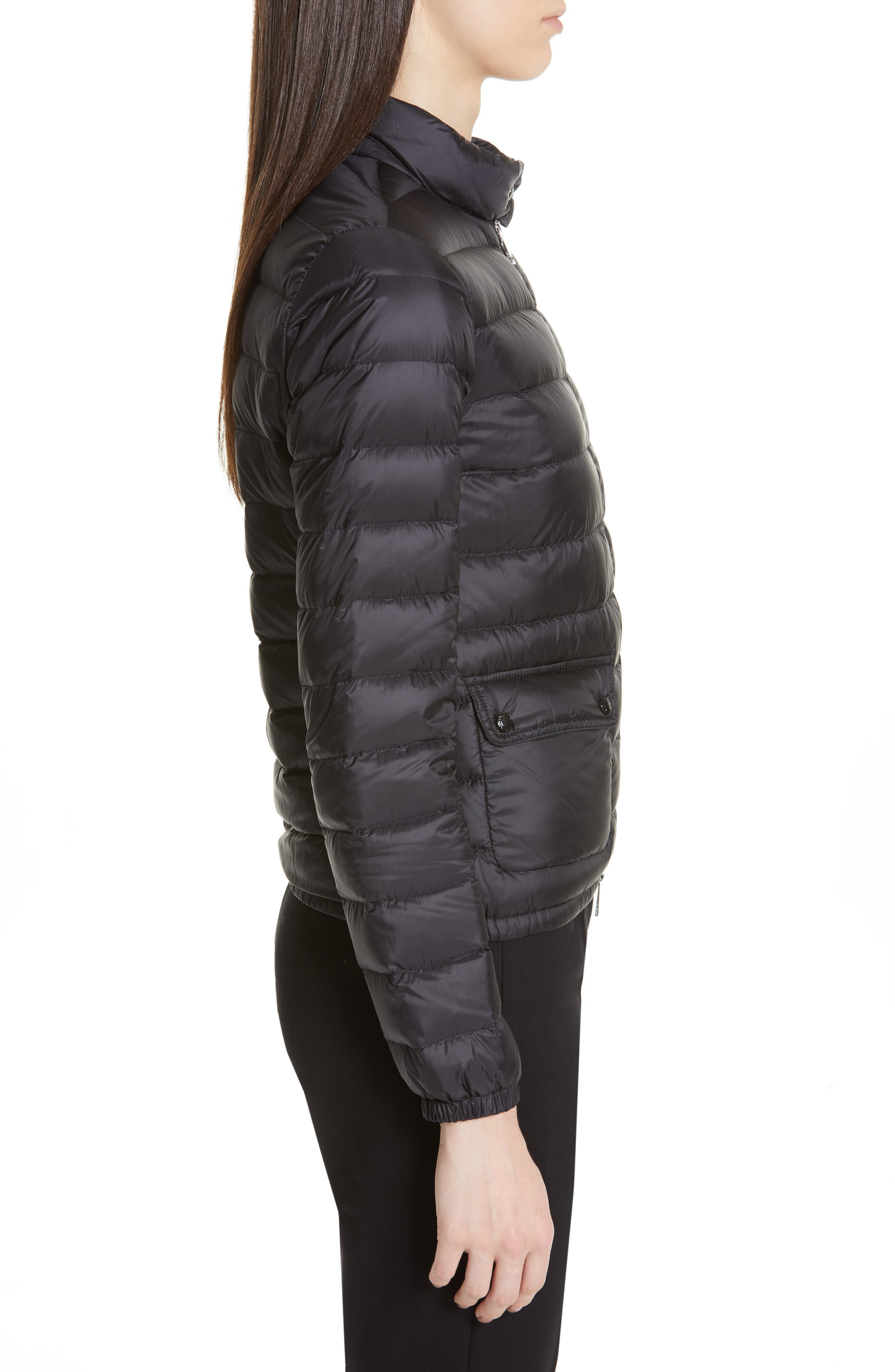 Lans Water Resistant Quilted Down Jacket,                             Alternate thumbnail 3, color,                             BLACK